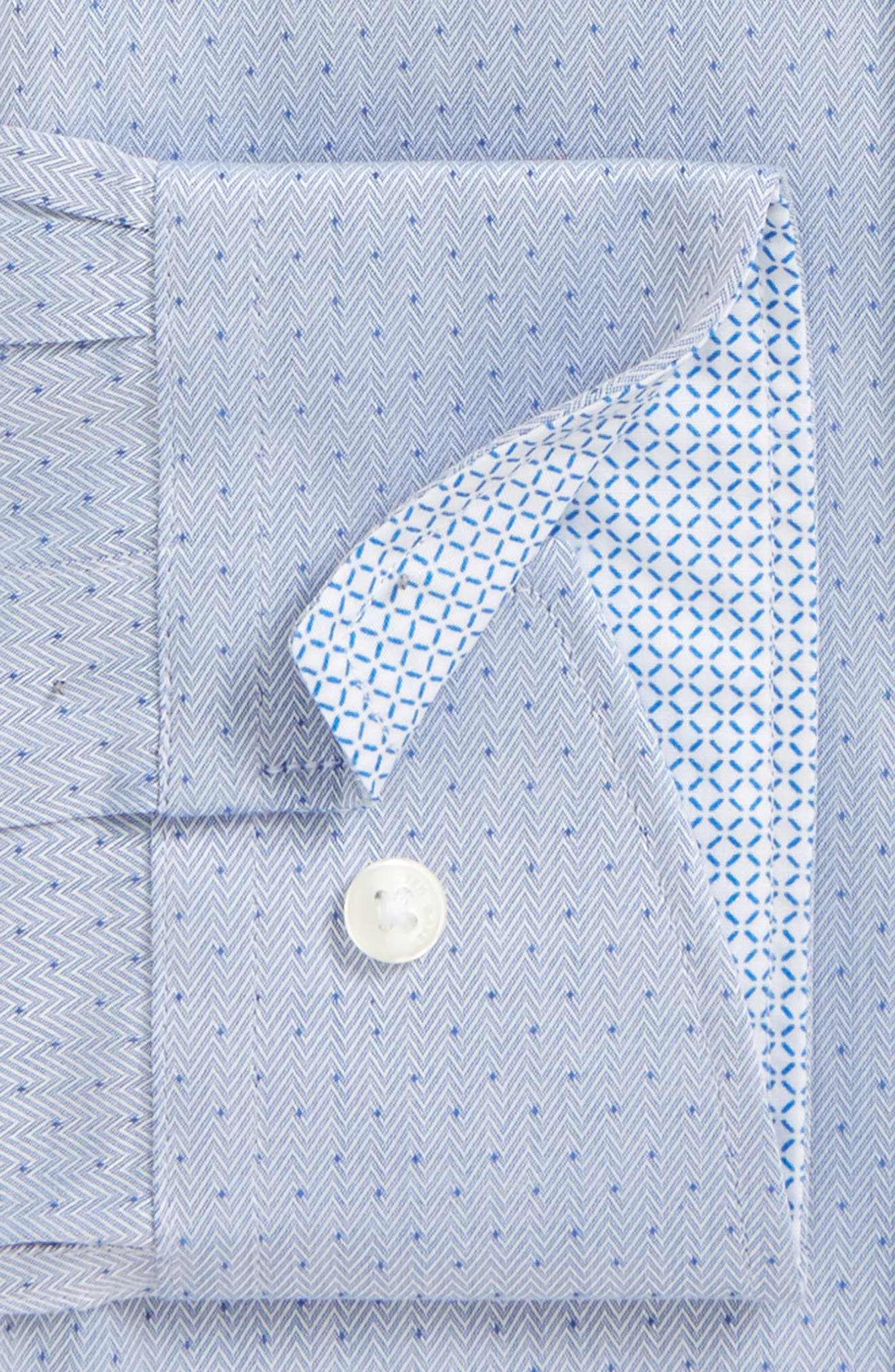 Boxli Trim Fit Herringbone Dress Shirt,                             Alternate thumbnail 2, color,                             Blue
