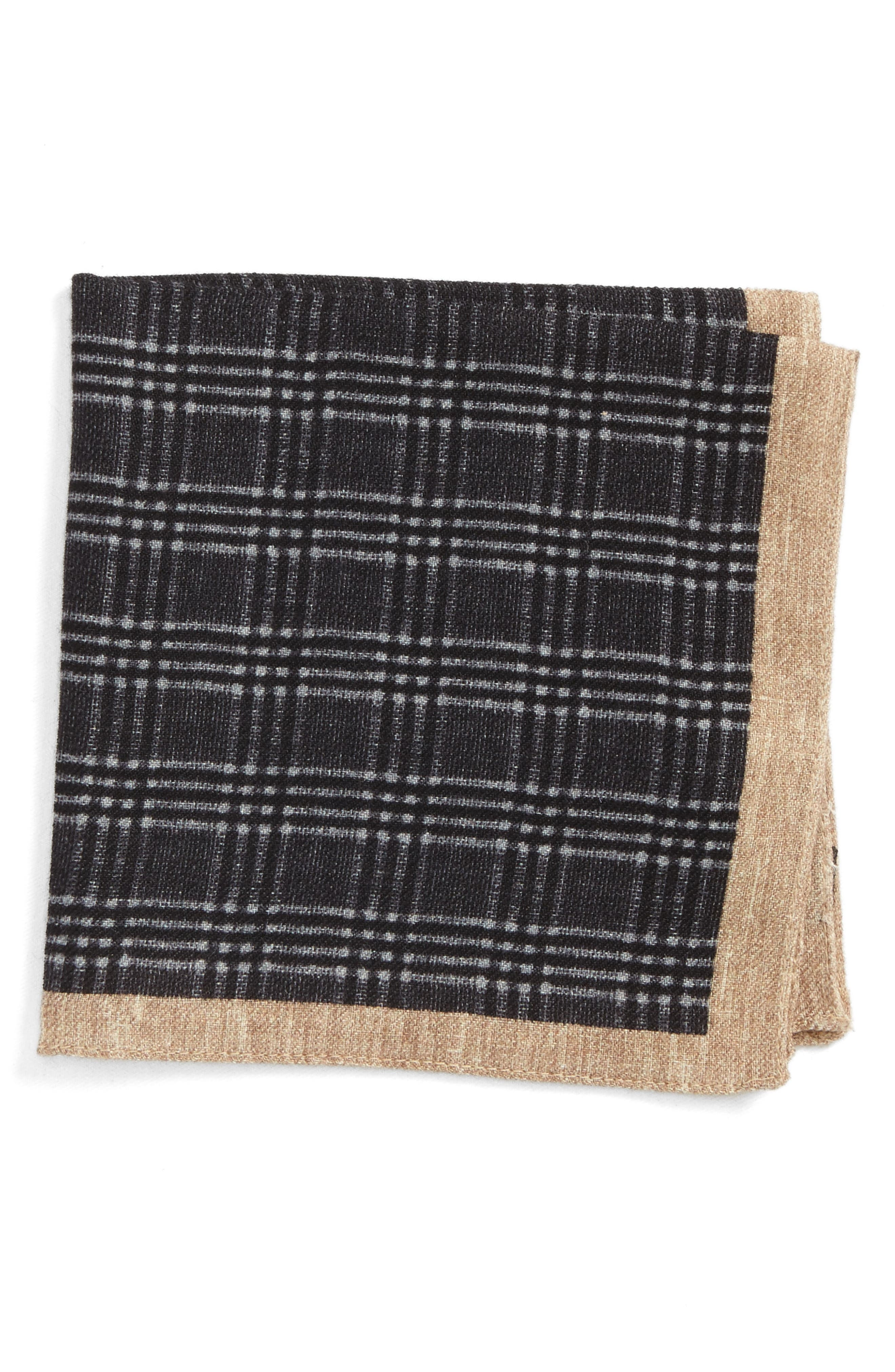 Plaid Wool Pocket Square,                             Main thumbnail 1, color,                             Grey