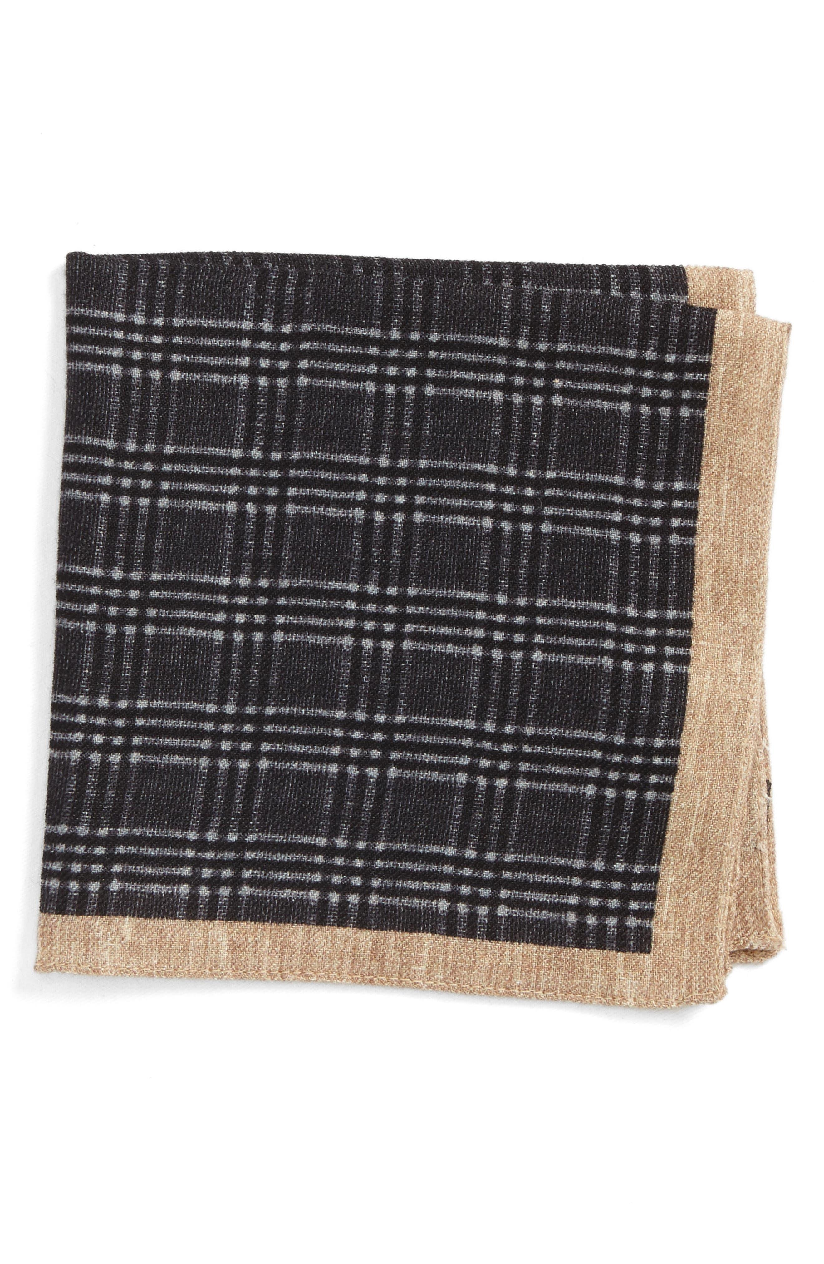 Plaid Wool Pocket Square,                         Main,                         color, Grey