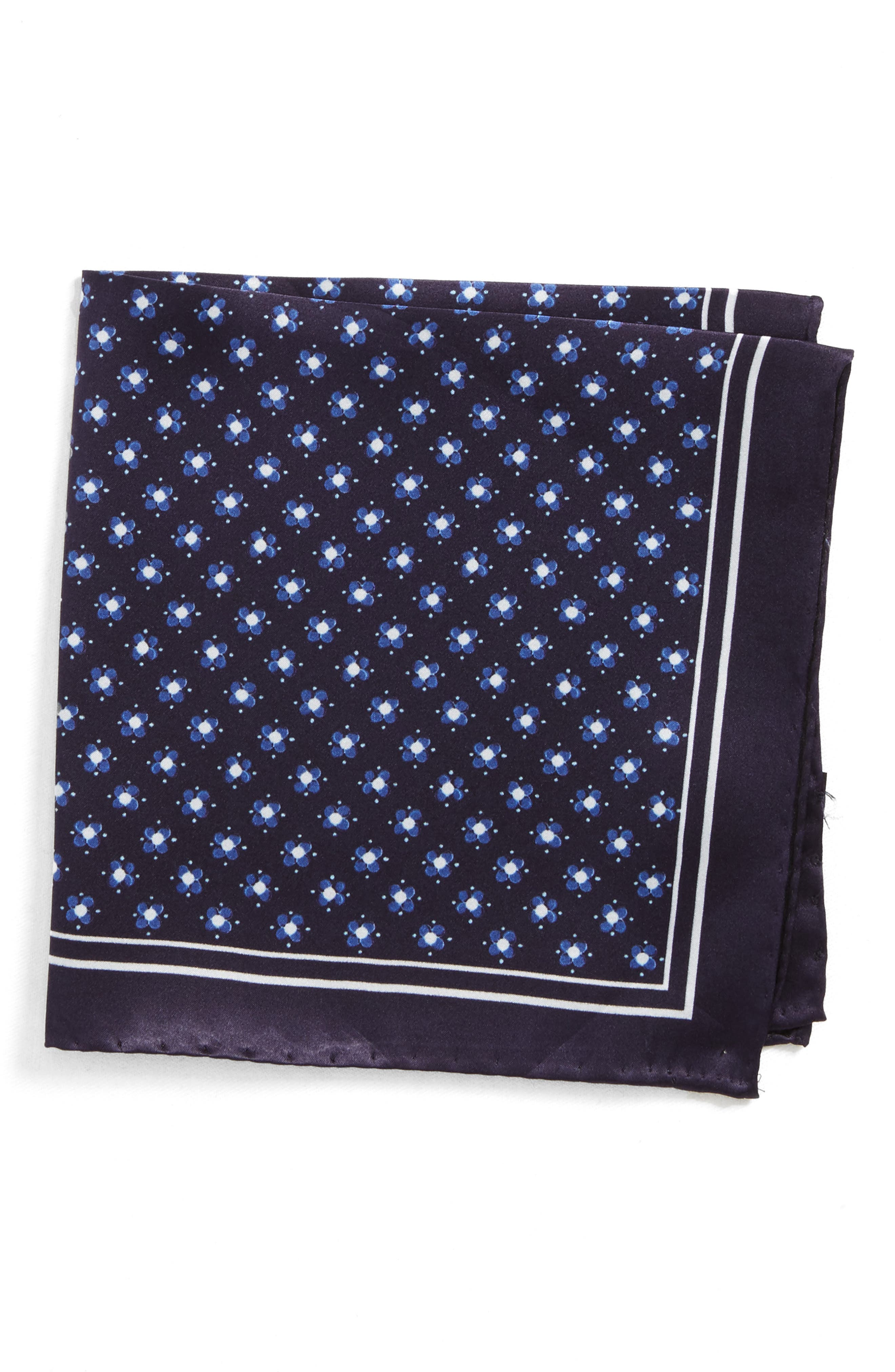Medallion Silk Pocket Square,                         Main,                         color, Blue
