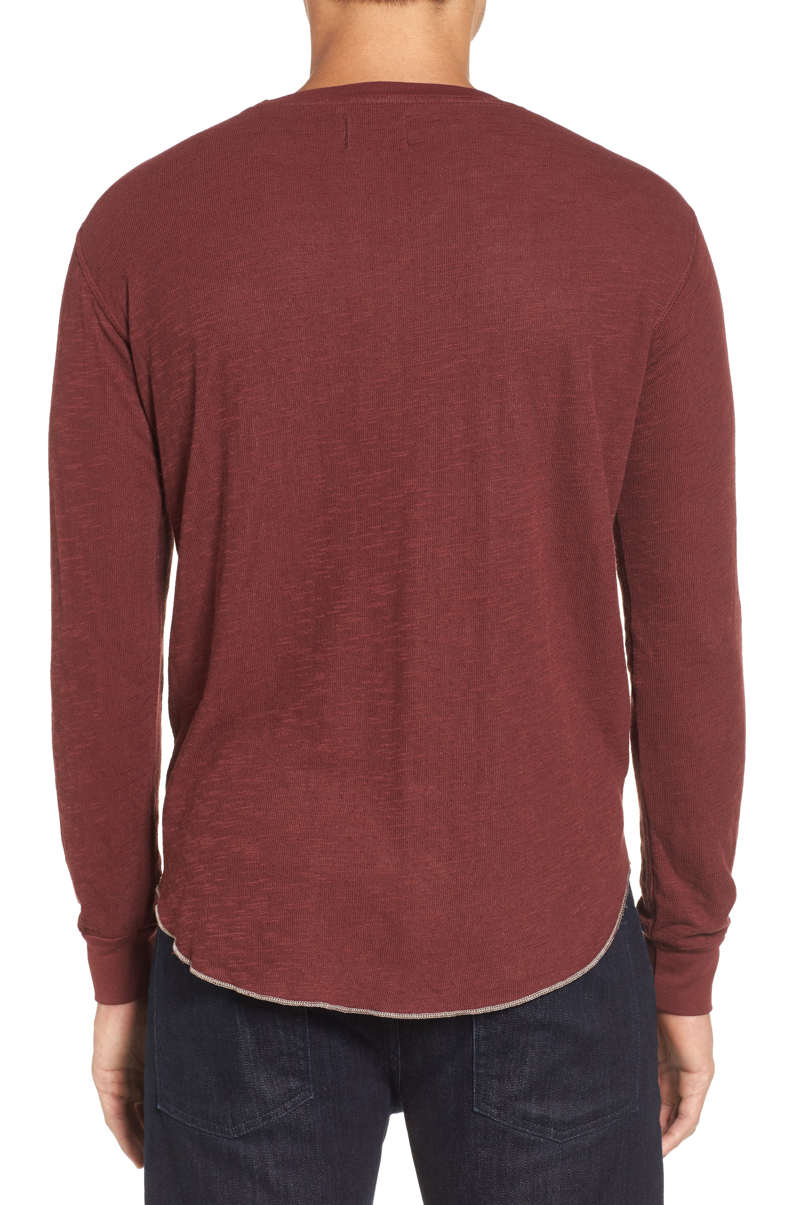 Double Layer Slim Crewneck T-Shirt,                             Alternate thumbnail 2, color,                             Andorra
