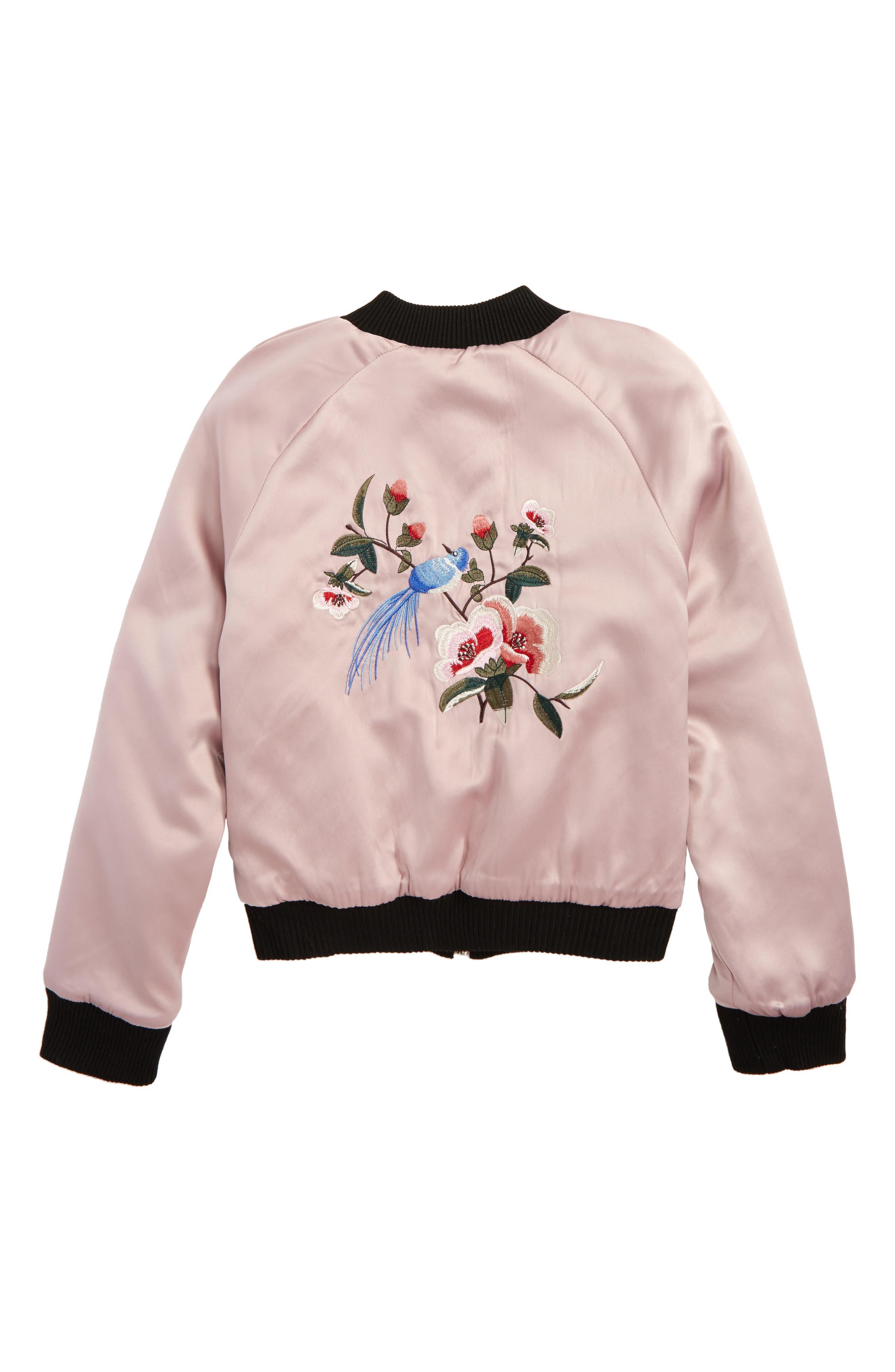 Alternate Image 3  - Jou Jou Embroidered Reversible Bomber Jacket (Big Girls)