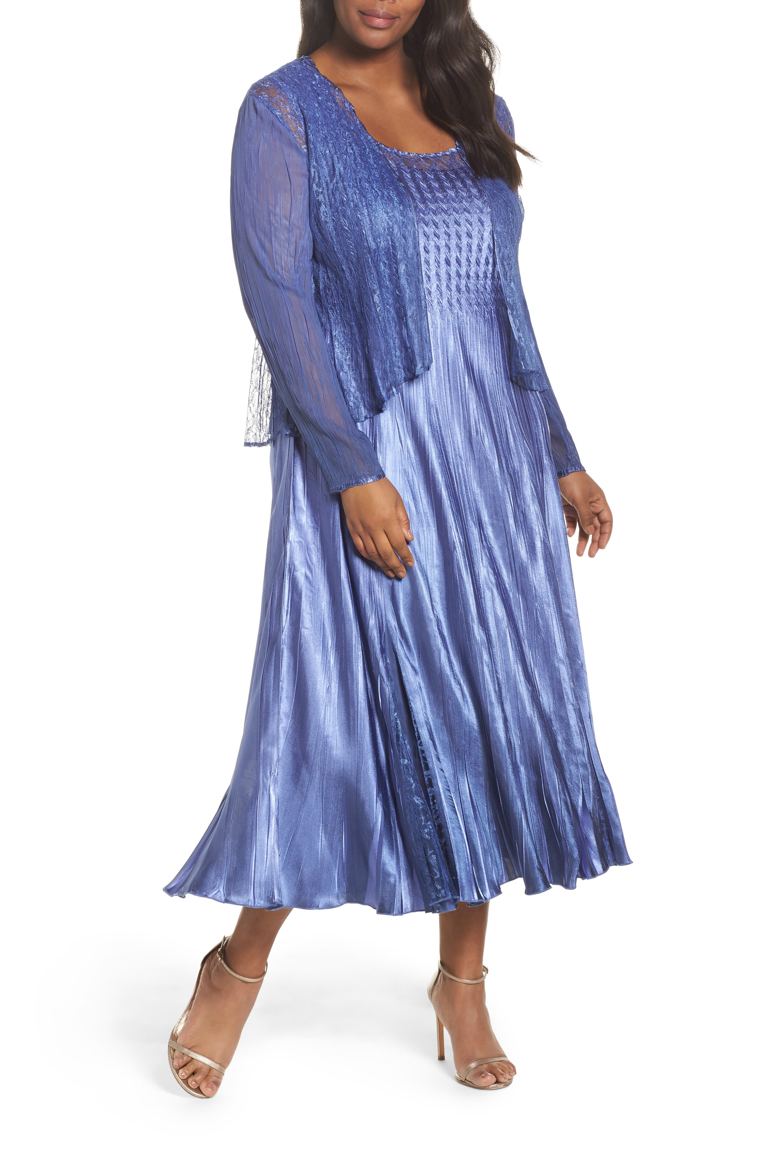 Lace Inset Charmeuse Dress with Chiffon Jacket,                             Alternate thumbnail 2, color,                             Blue Ombre