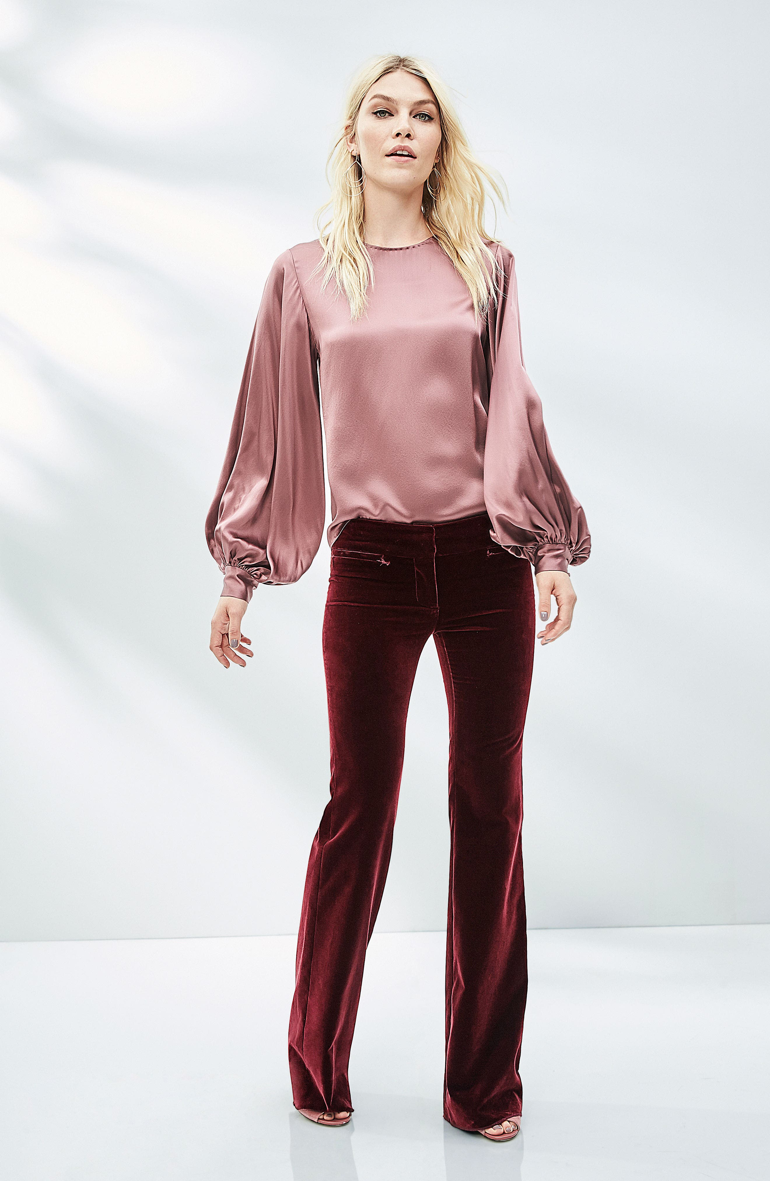 Alternate Image 7  - Nili Lotan Loretta Silk Puff Sleeve Blouse