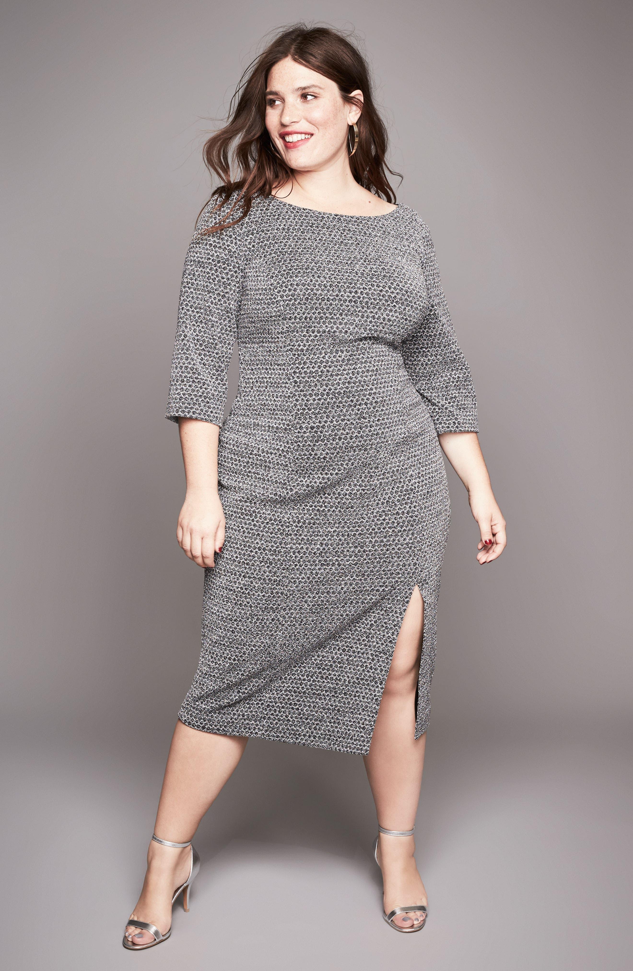 Alternate Image 2  - Adrianna Papell Glitter Knit Sheath Dress (Plus Size)