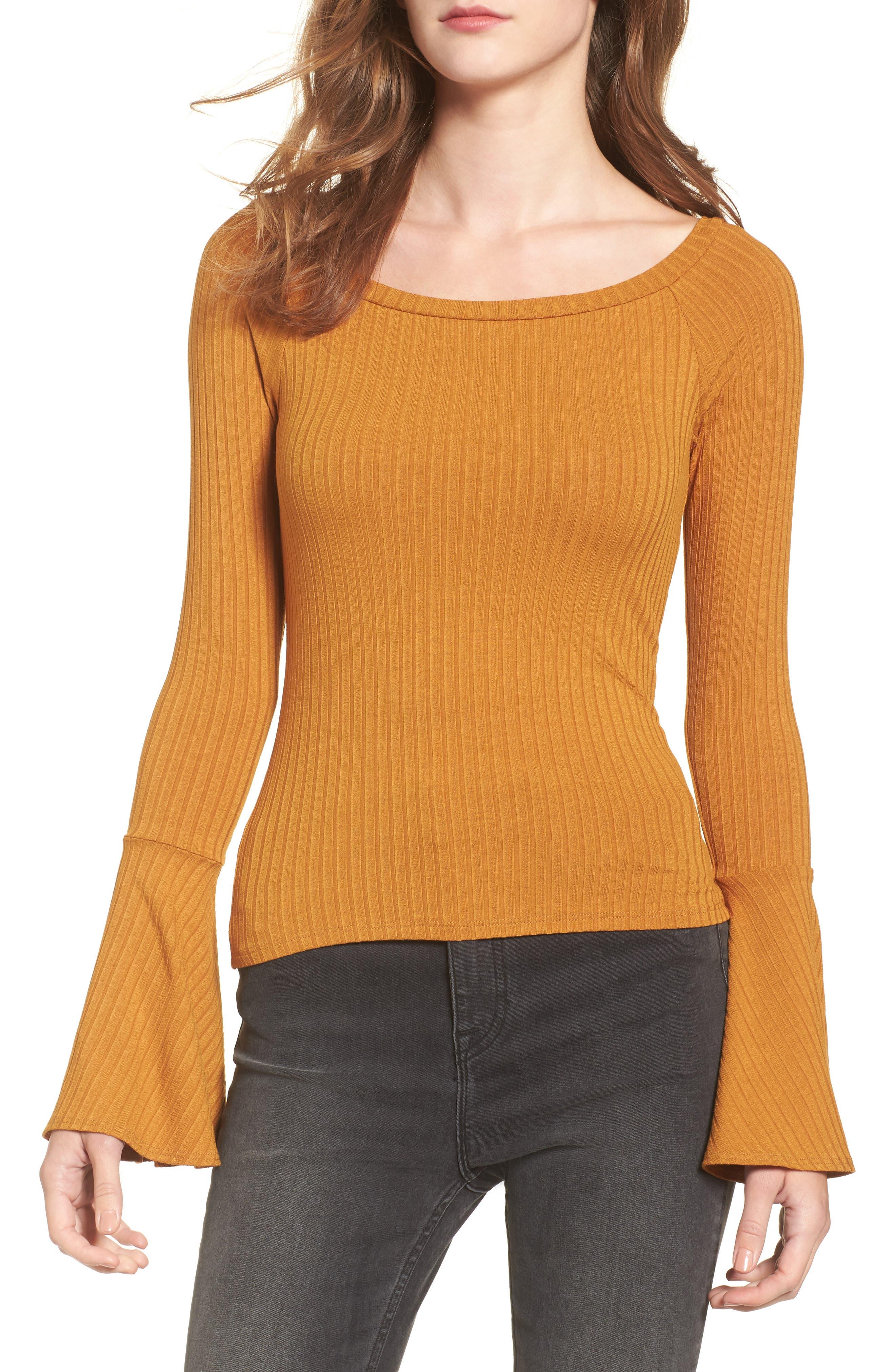 Bell Sleeve Ribbed Top,                             Main thumbnail 1, color,                             Mustard