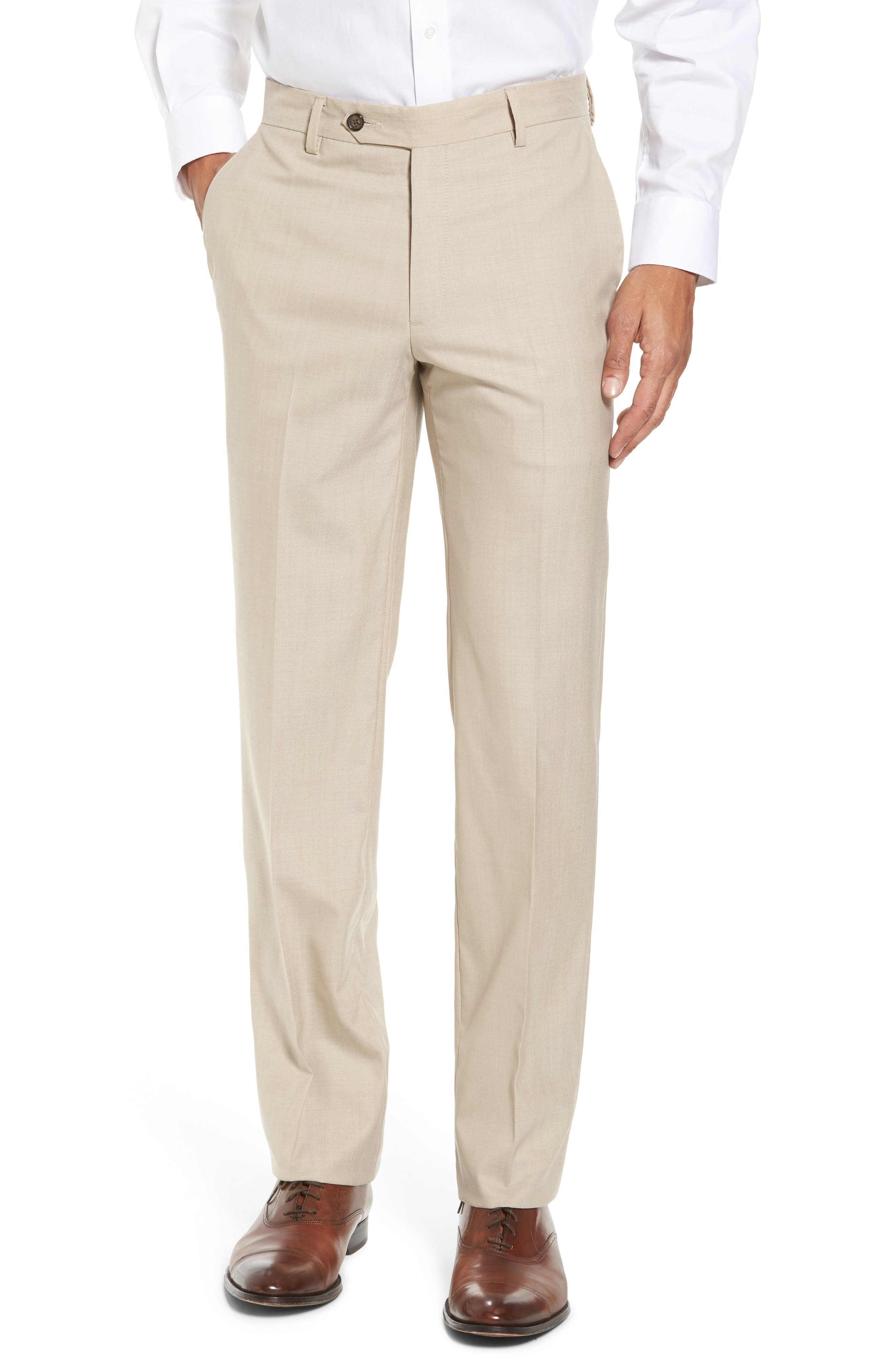 Flat Front Stretch Solid Wool Trousers,                             Main thumbnail 1, color,                             Tan