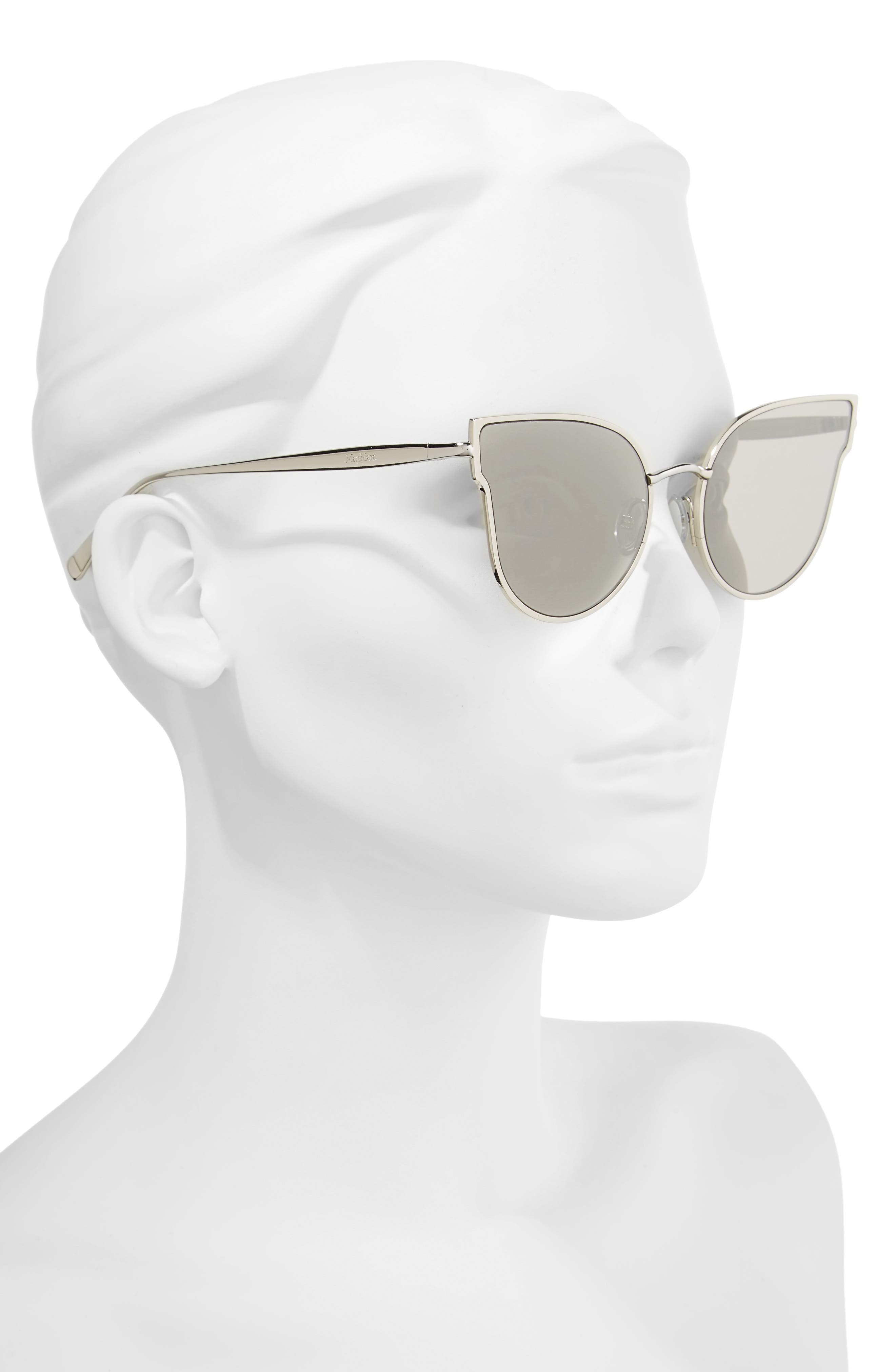 Ilde III 57mm Mirrored Cat Eye Sunglasses,                             Alternate thumbnail 2, color,                             Smoke Silver