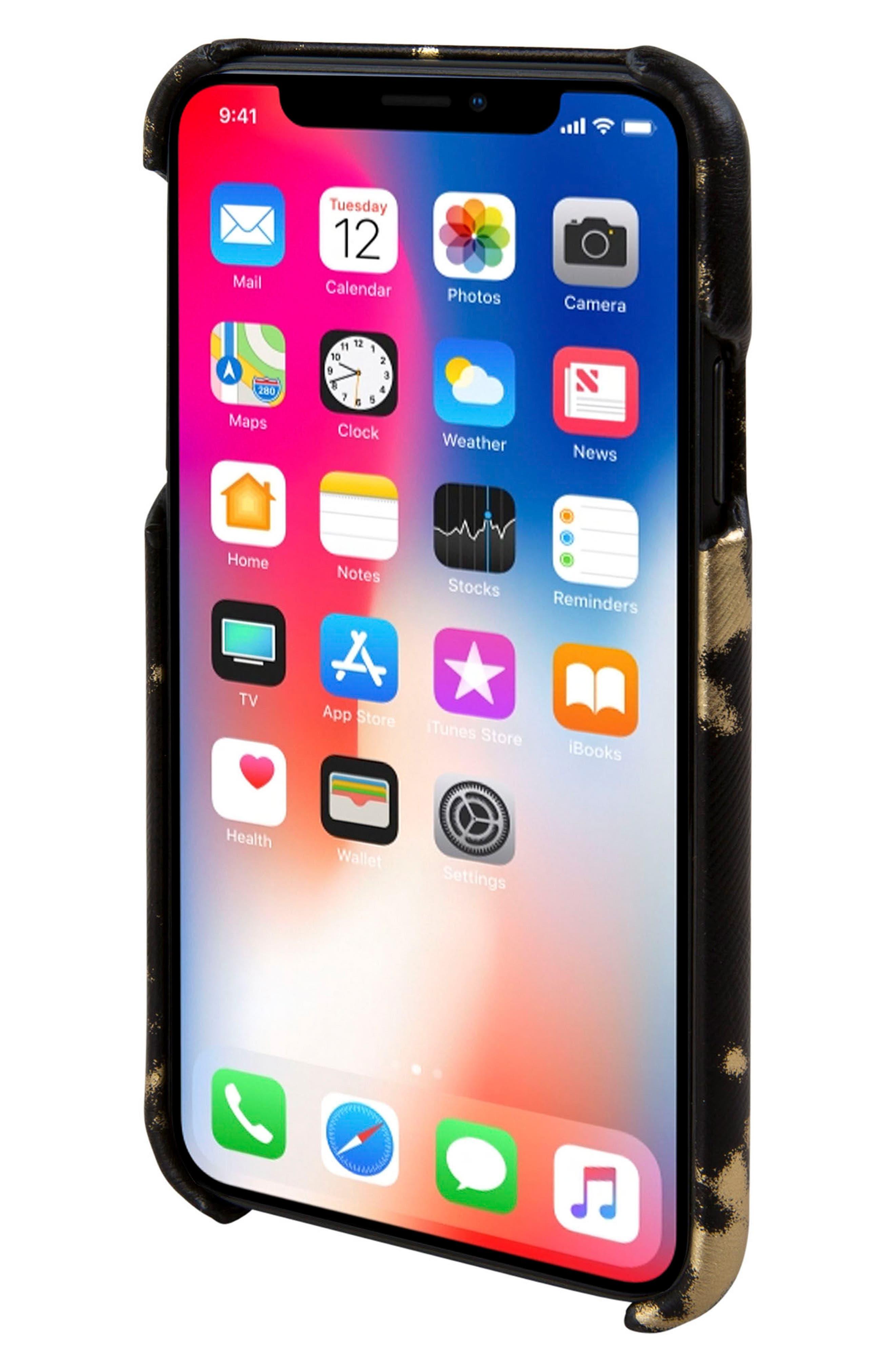 Solo iPhone X Wallet Case,                             Alternate thumbnail 4, color,                             Black/ Gold