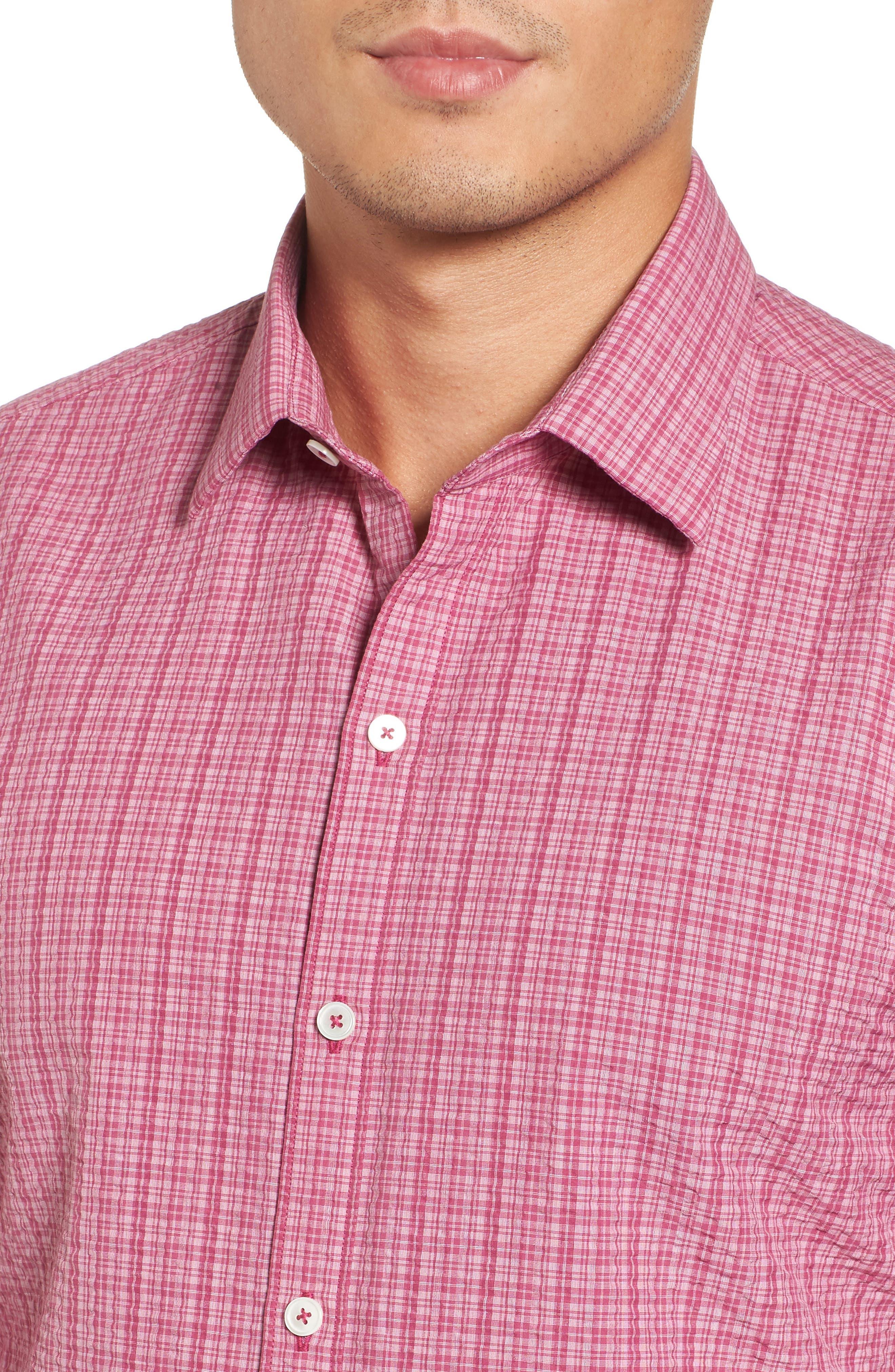 Italo Seersucker Woven Sport Shirt,                             Alternate thumbnail 4, color,                             Dark Pink