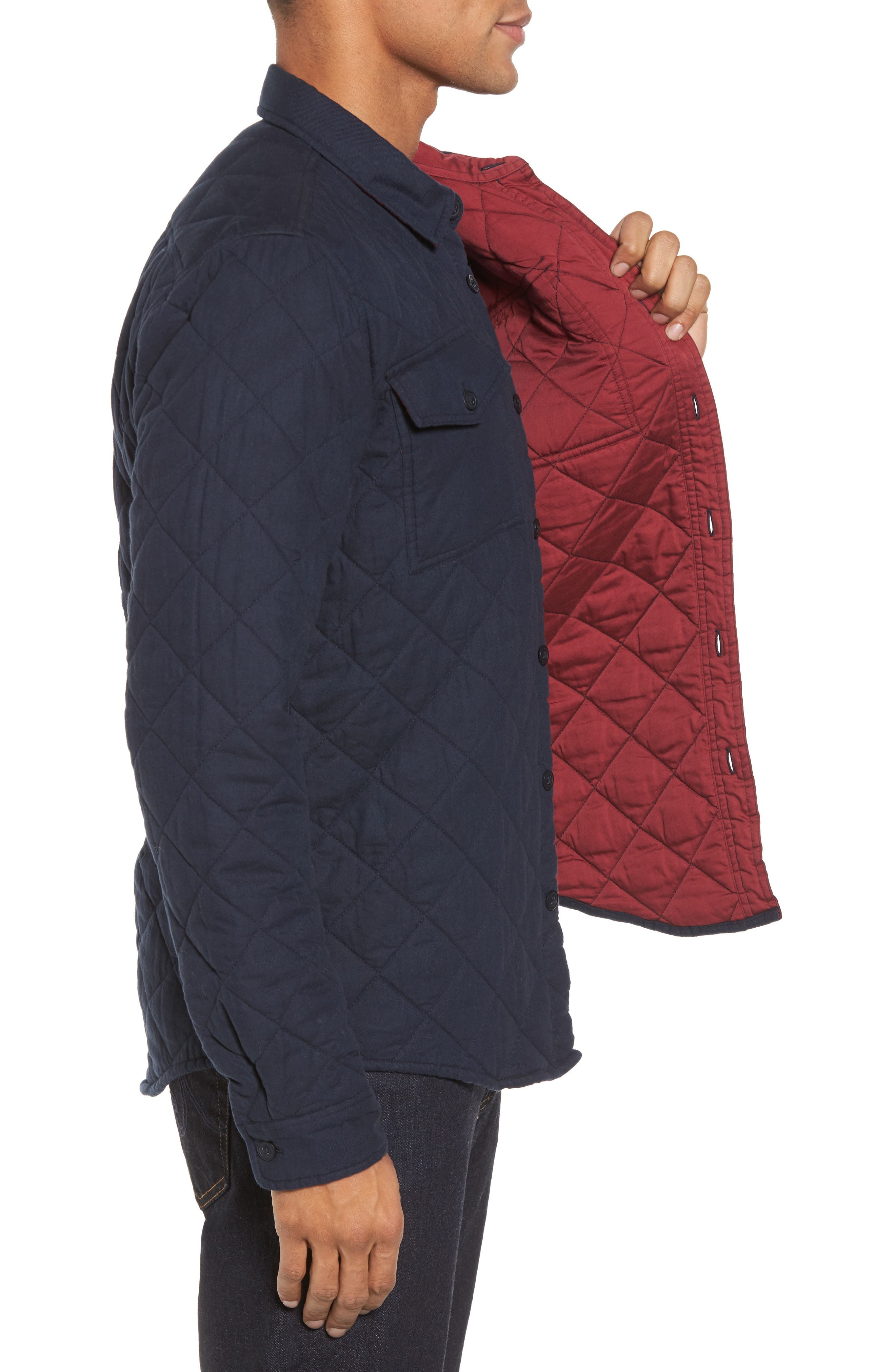 Quilted Shirt Jacket,                             Alternate thumbnail 3, color,                             Navy
