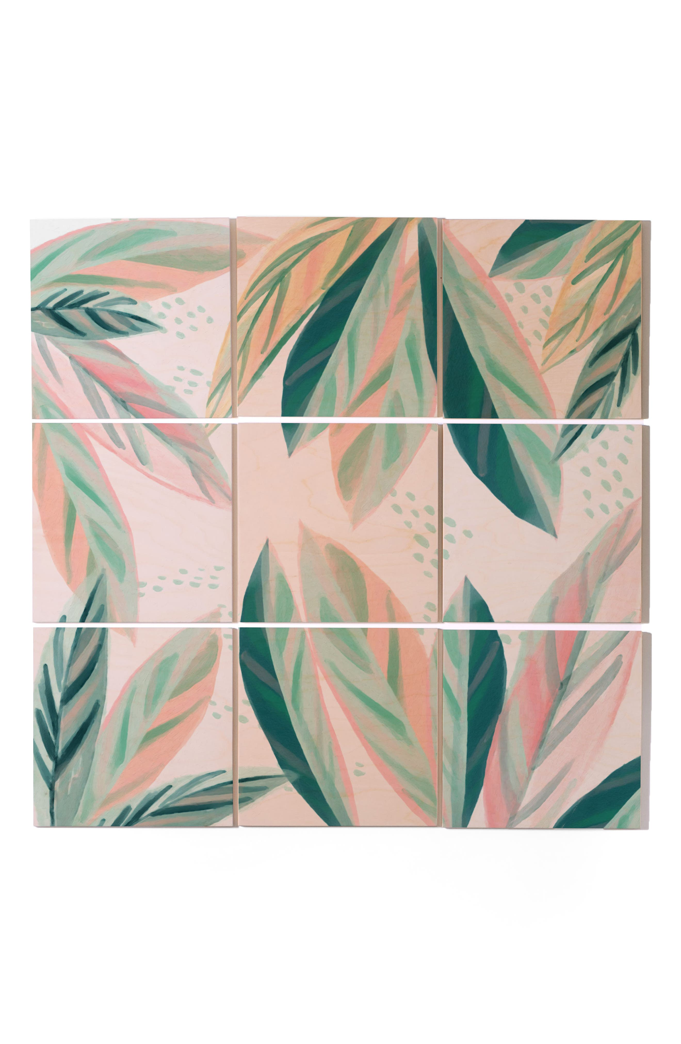 Painterly Palms 9-Piece Wood Wall Mural,                         Main,                         color, Pastel Green