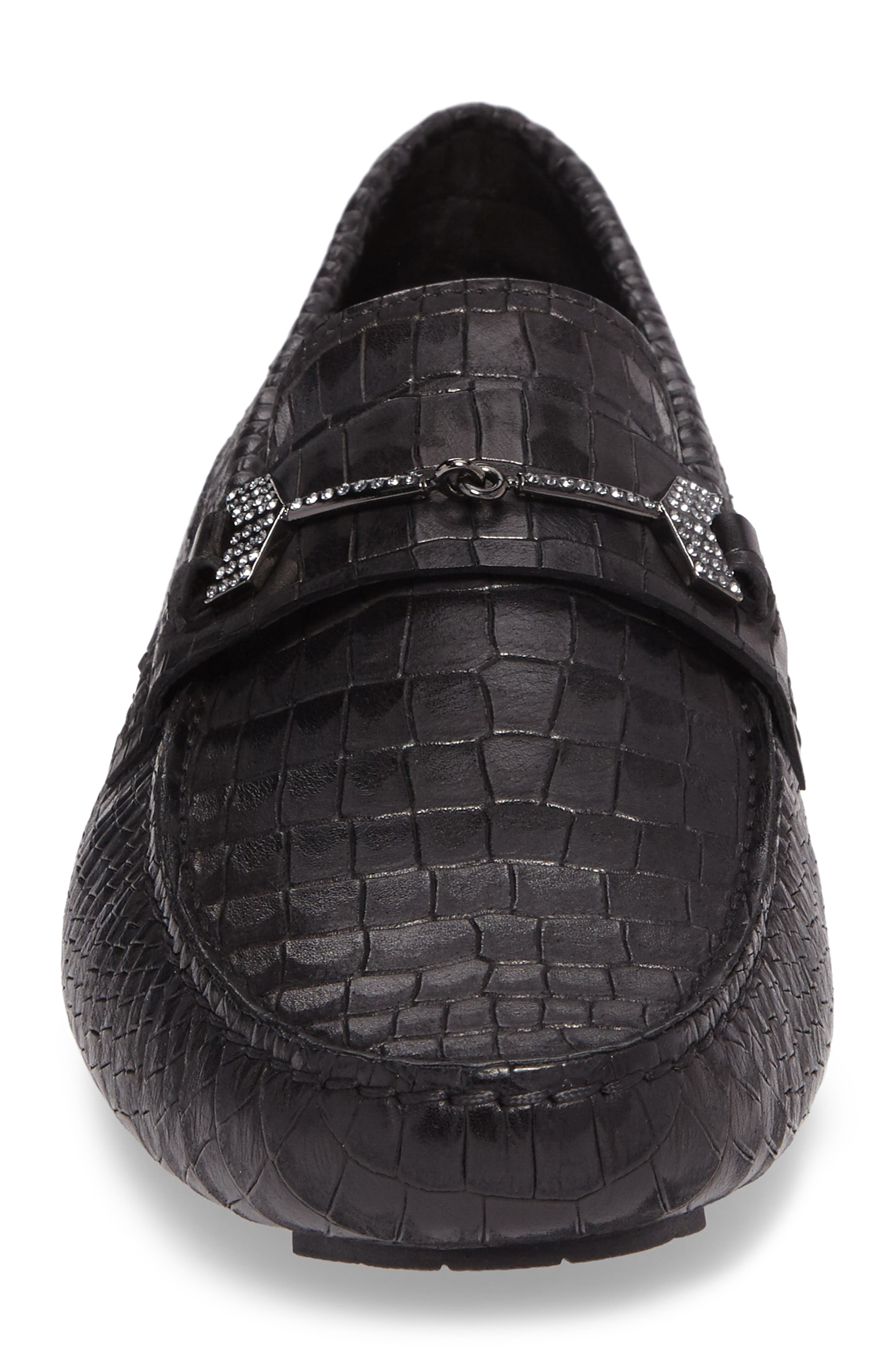Brewer Croc Textured Driving Loafer,                             Alternate thumbnail 4, color,                             Black