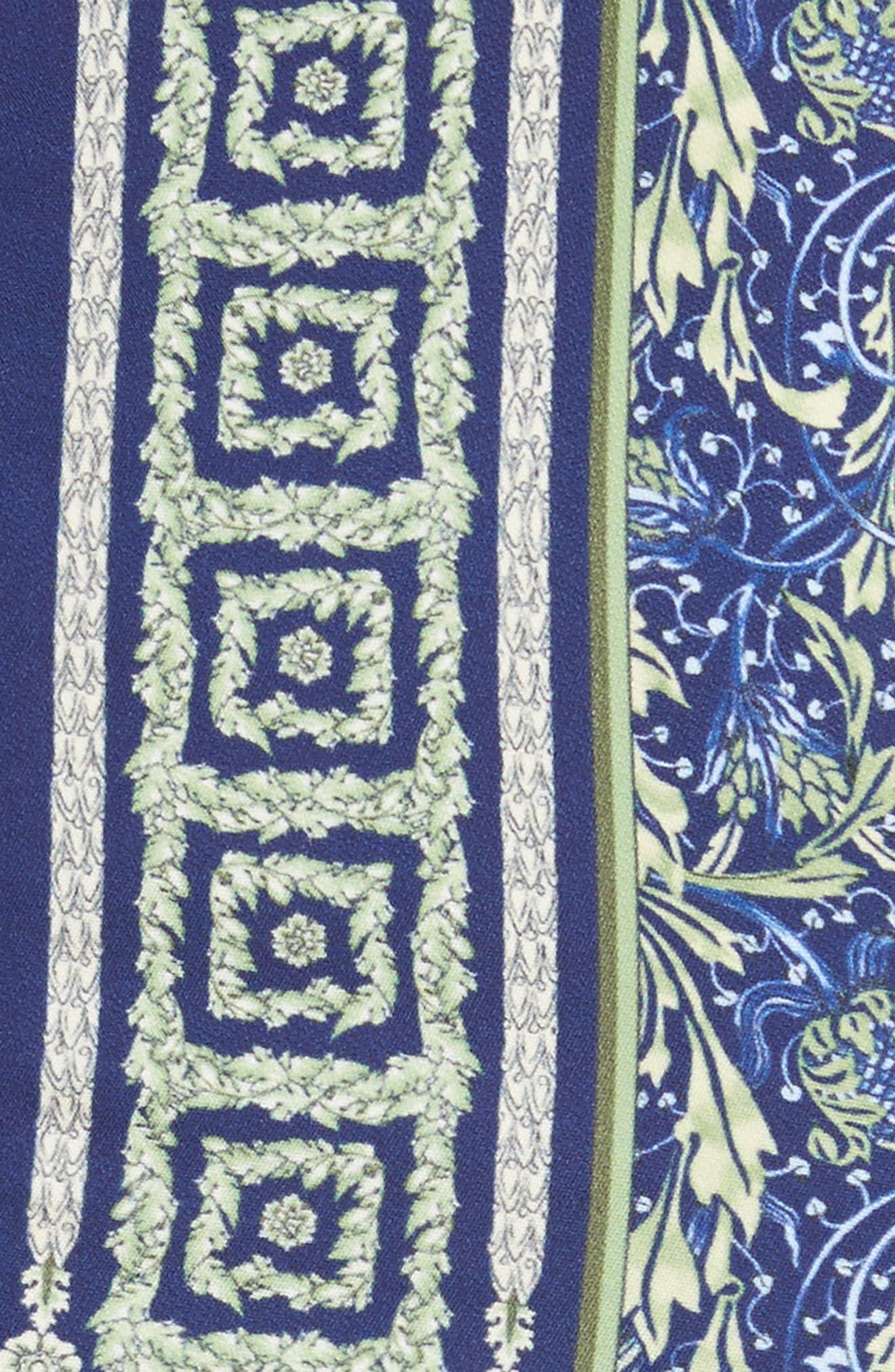 Acanthus Print Sheath Dress,                             Alternate thumbnail 4, color,                             Electric Blue Print