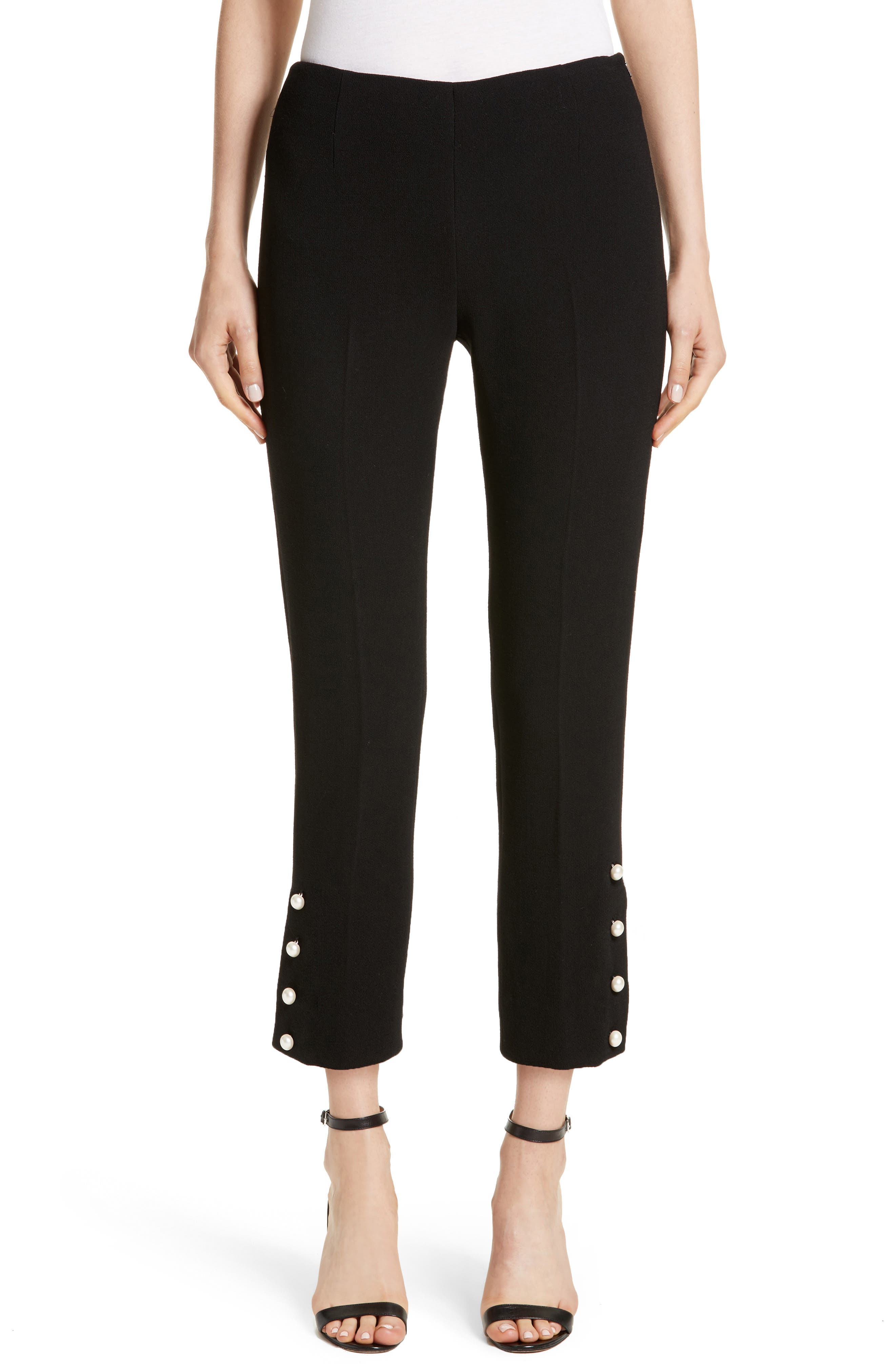 Pearly Button Pants,                         Main,                         color, Black