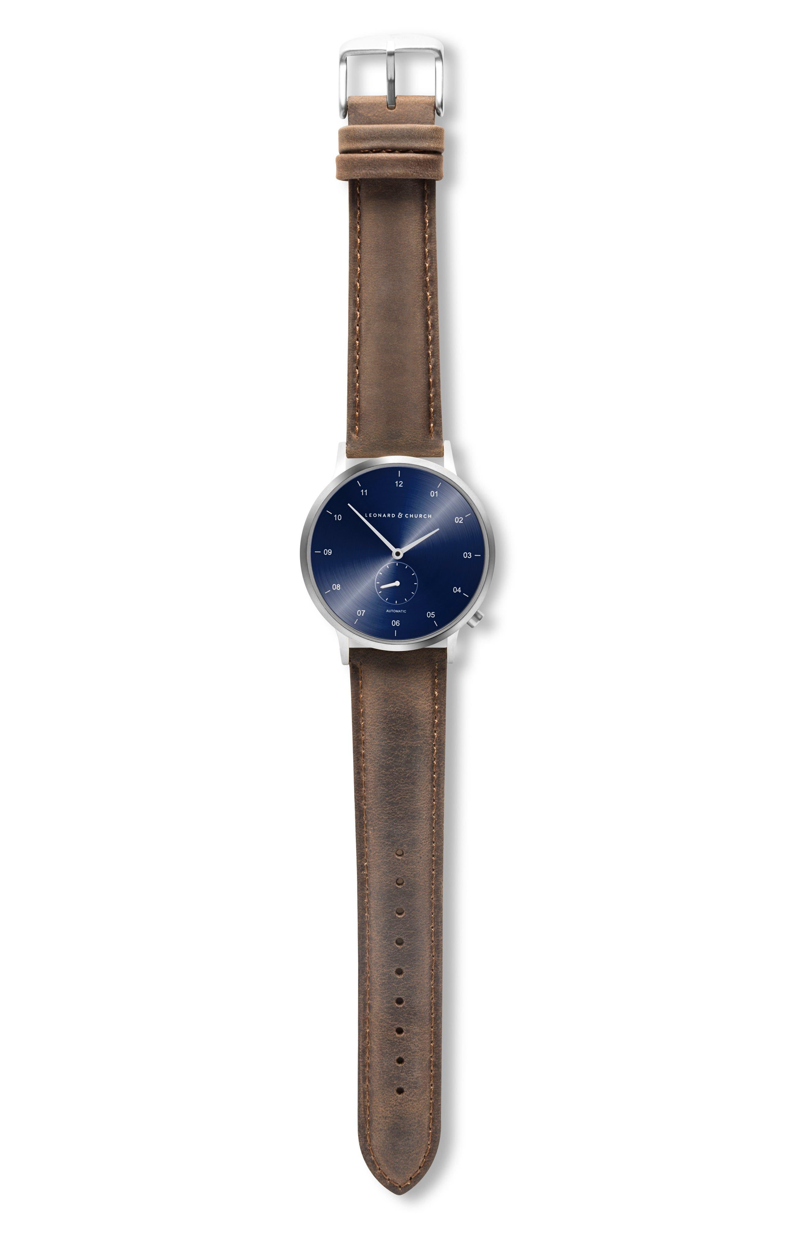 Leonard & Church Sullivan Automatic Suede Strap Watch, 39mm,                             Alternate thumbnail 4, color,                             Dark Brown/ Blue/ Silver