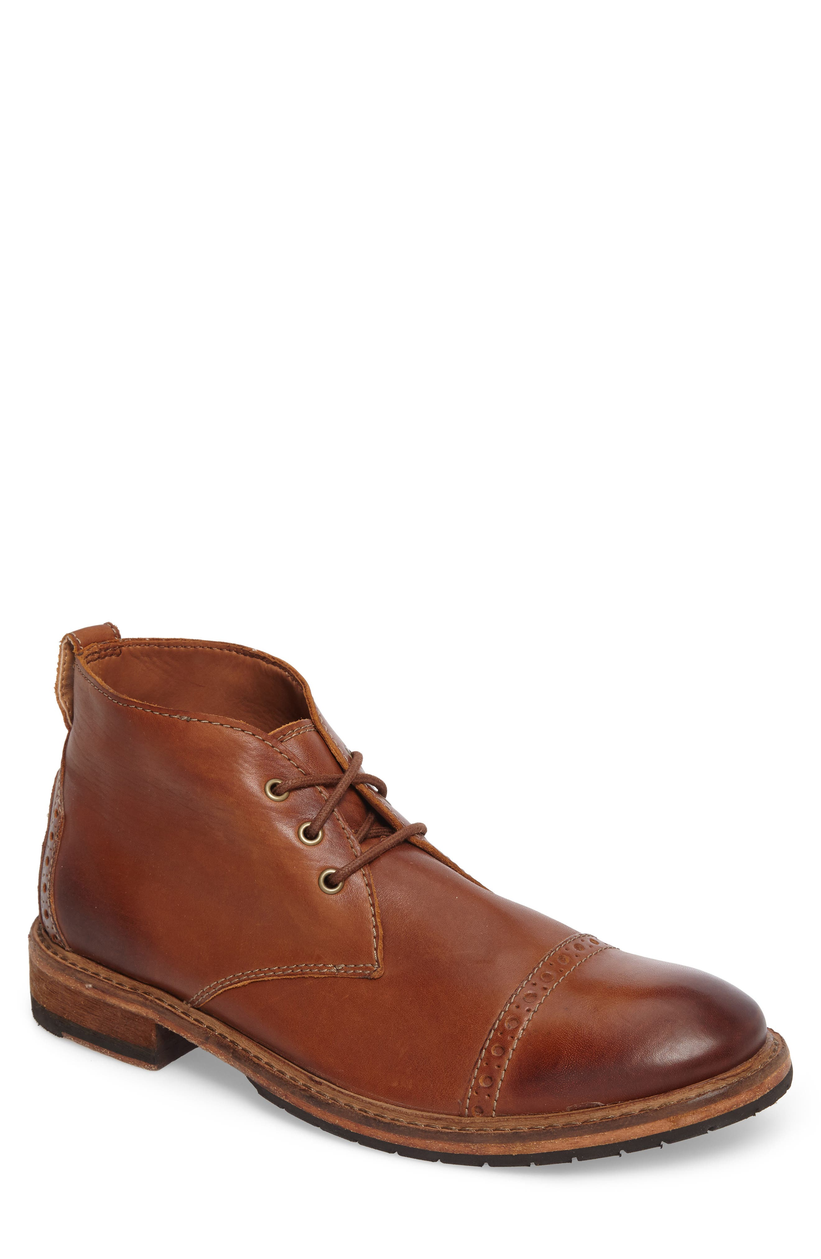 Clarkdale Water Resistant Chukka Boot,                             Main thumbnail 1, color,                             Dark Tan Leather