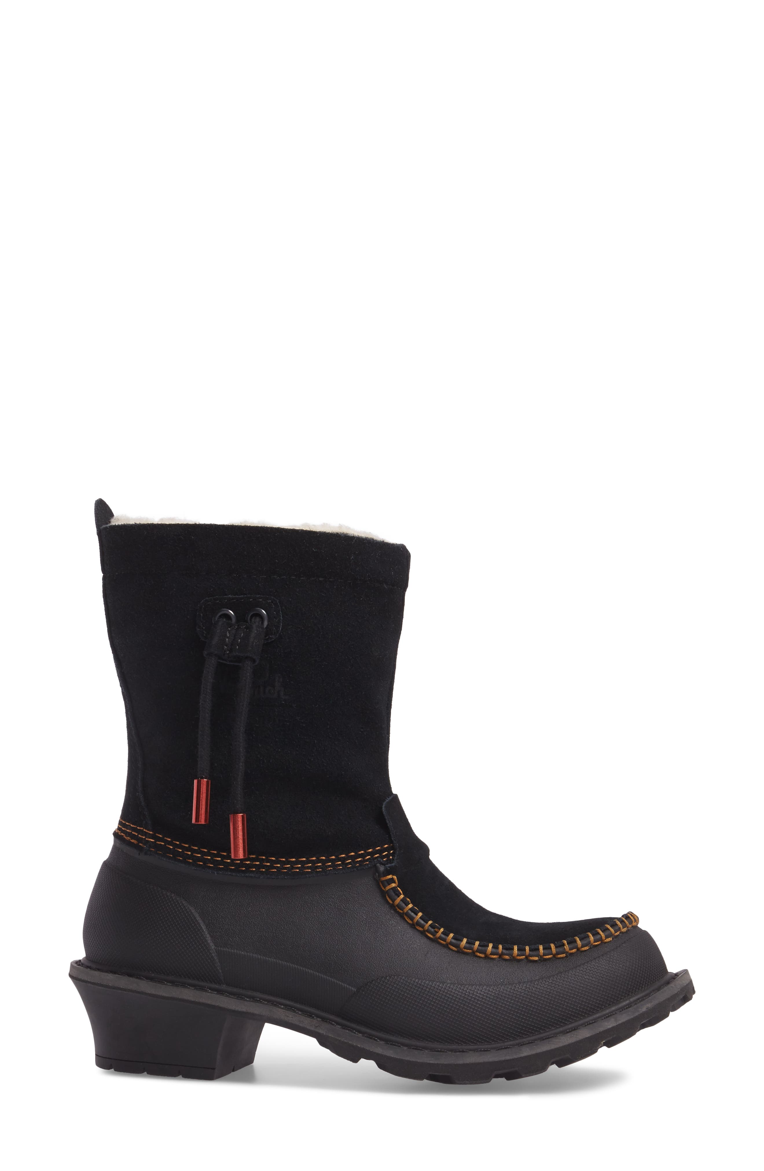 Fully Wooly Waterproof Winter Boot,                             Alternate thumbnail 3, color,                             Black Leather
