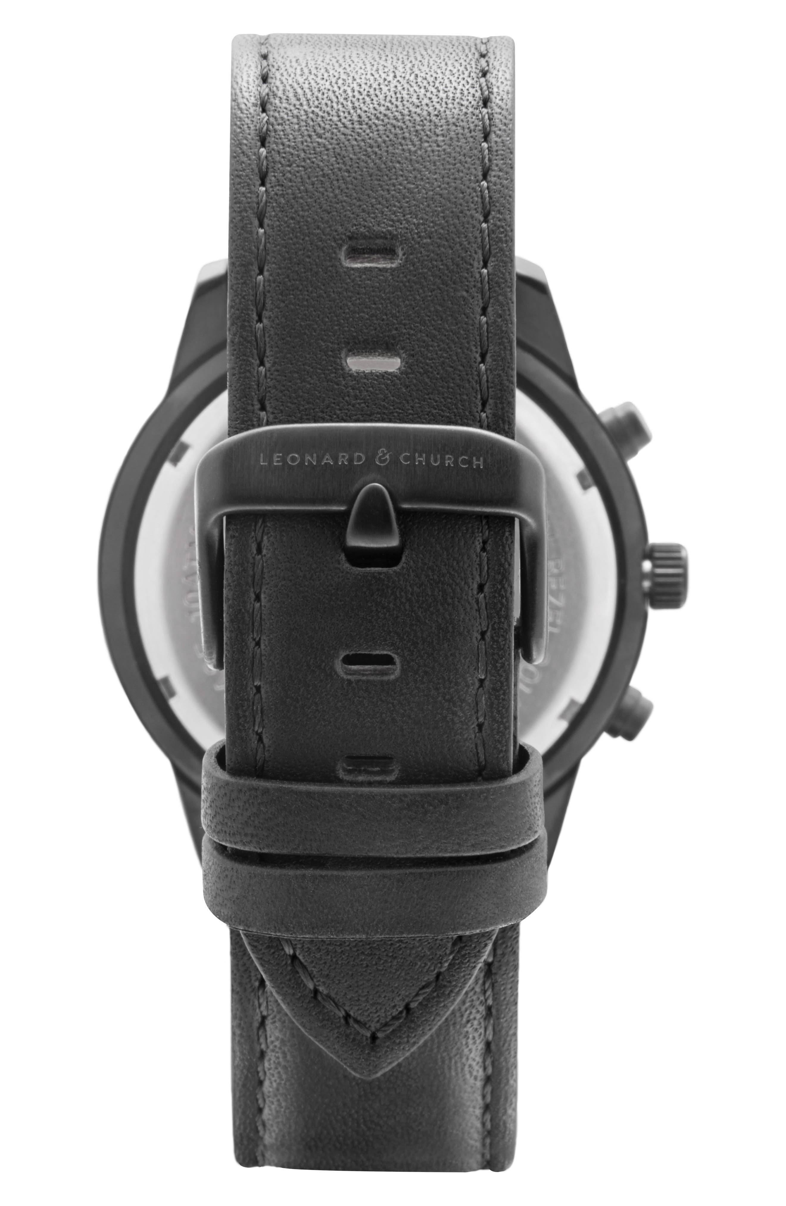 Leonard & Church Irving Chronograph Leather Strap Watch, 44mm,                             Alternate thumbnail 3, color,                             Black