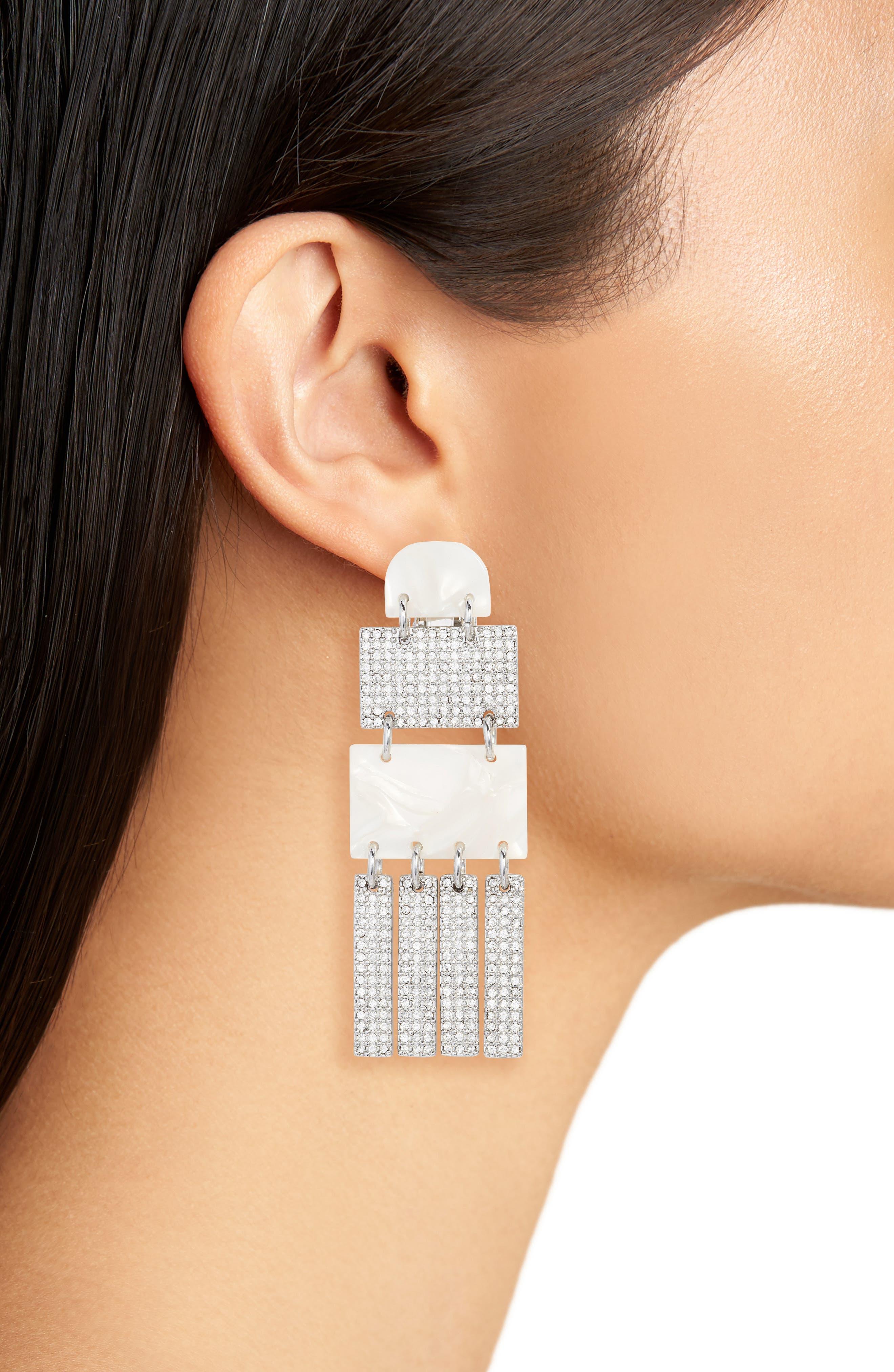 Crystal Skyscraper Earrings,                             Alternate thumbnail 2, color,                             Mother Of Pearl