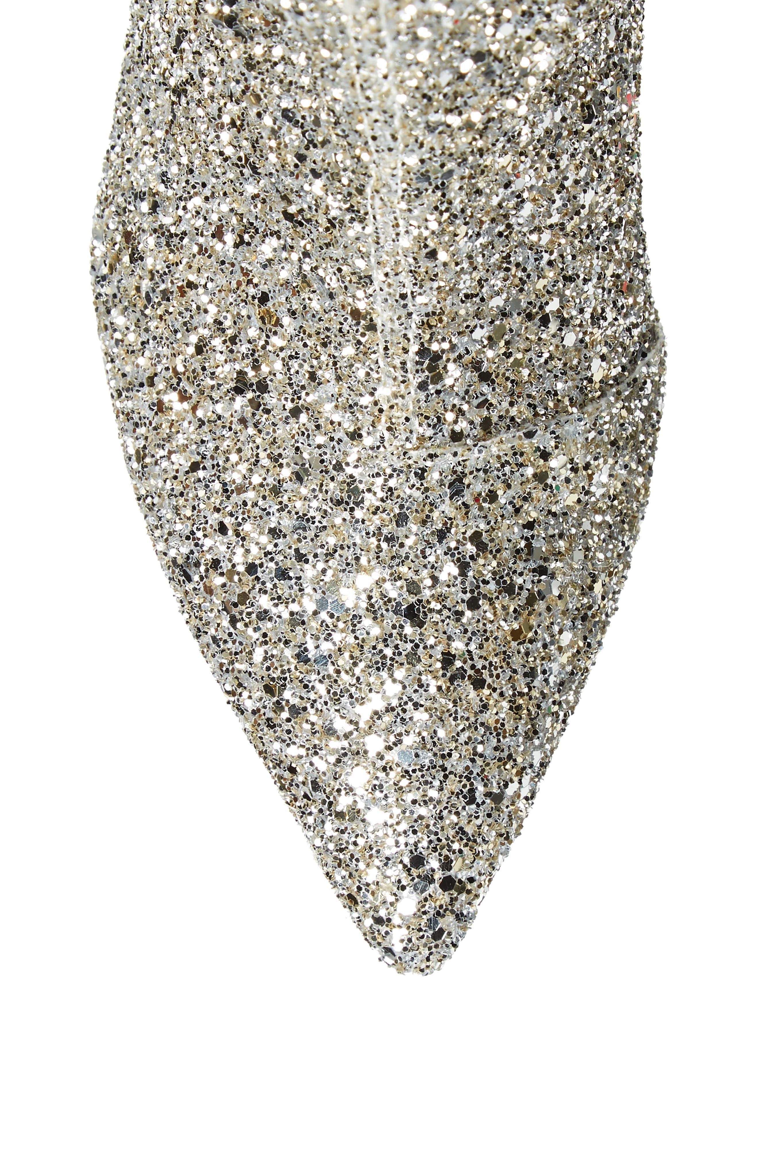 olina glitter knee high boot,                             Alternate thumbnail 5, color,                             Silver/ Gold Glitter