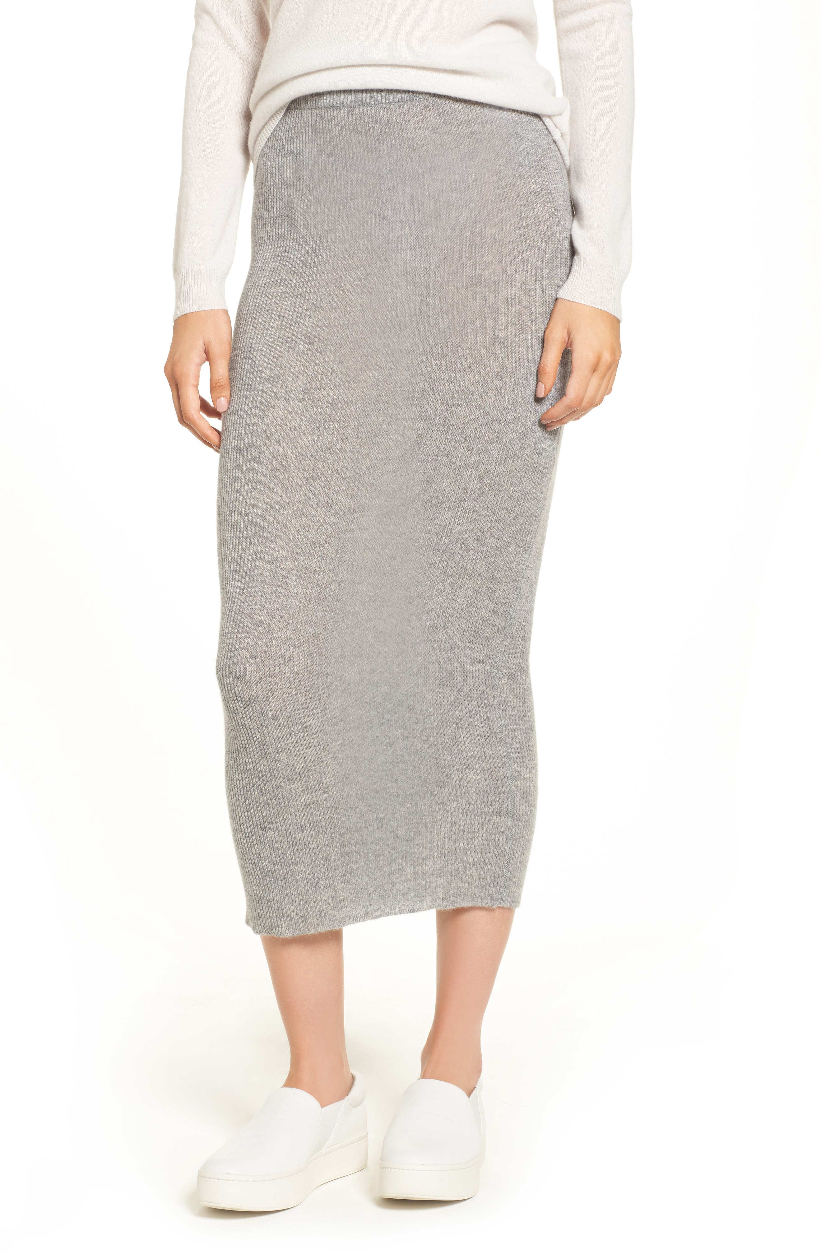 Cashmere Skirt,                             Main thumbnail 1, color,                             Heather Grey