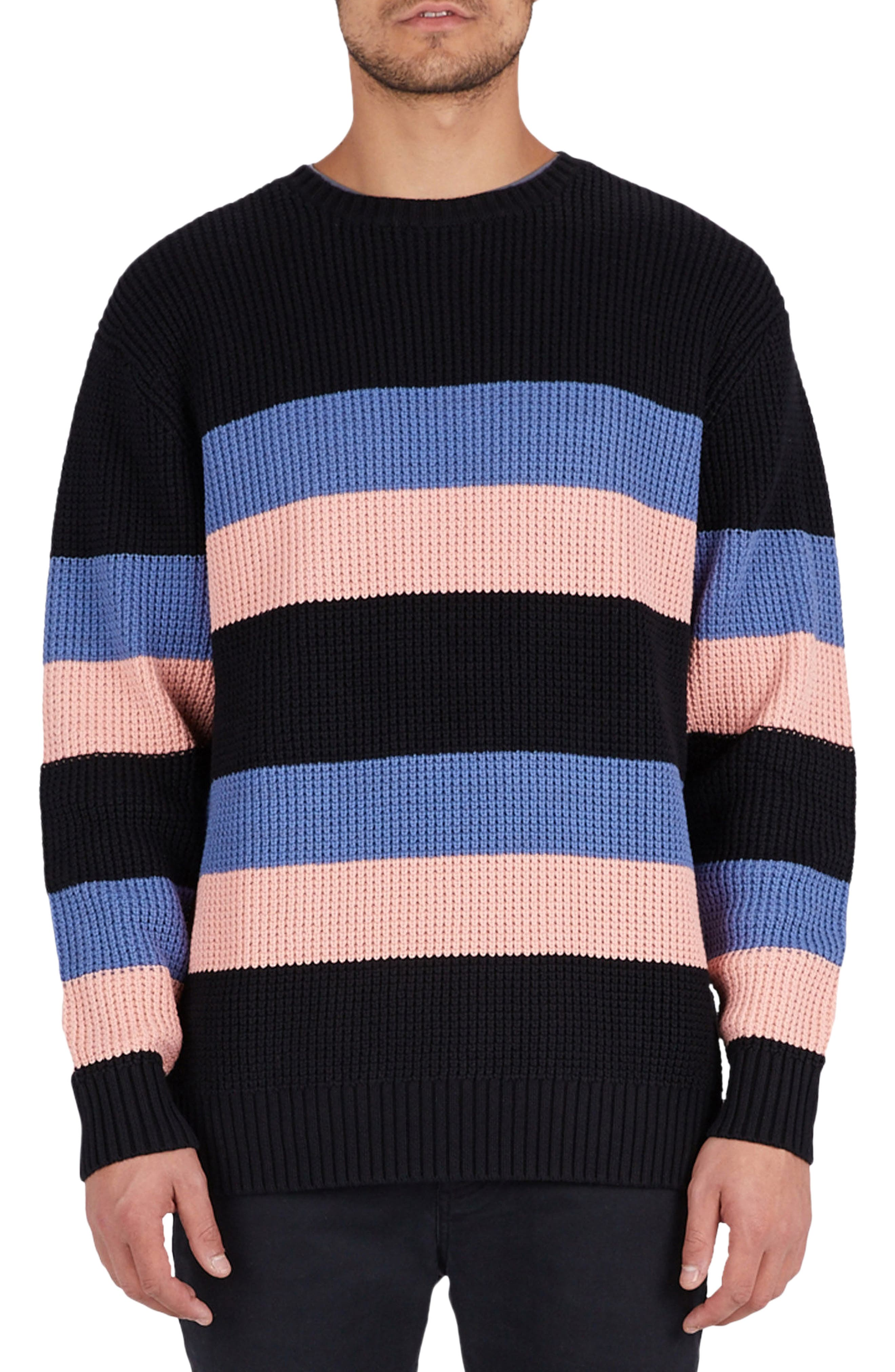 Rugby Stripe Sweater,                             Main thumbnail 1, color,                             Black/ Pink