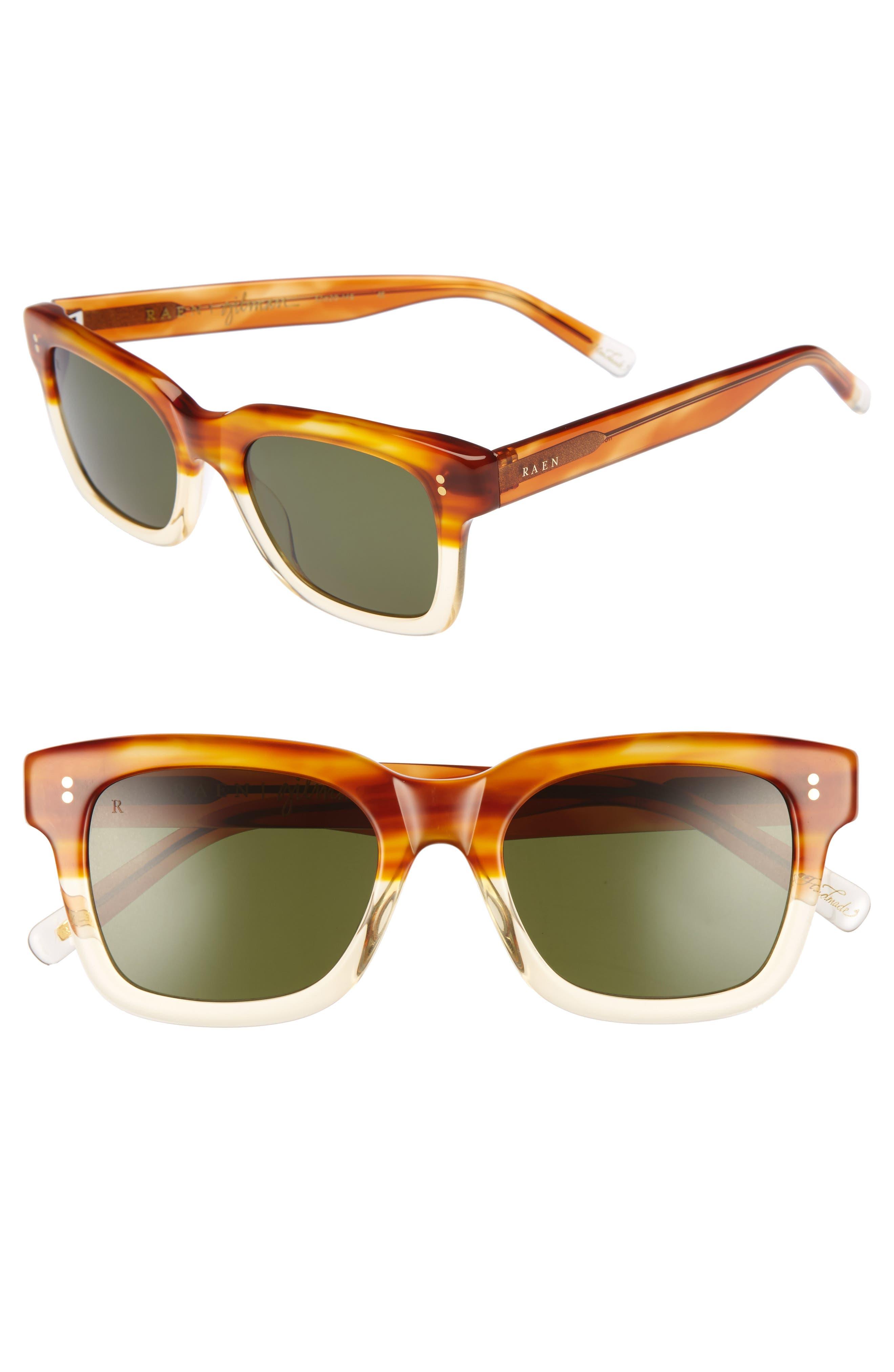 Gilman 52mm Polarized Sunglasses,                             Main thumbnail 1, color,                             Honey Havana/ Green