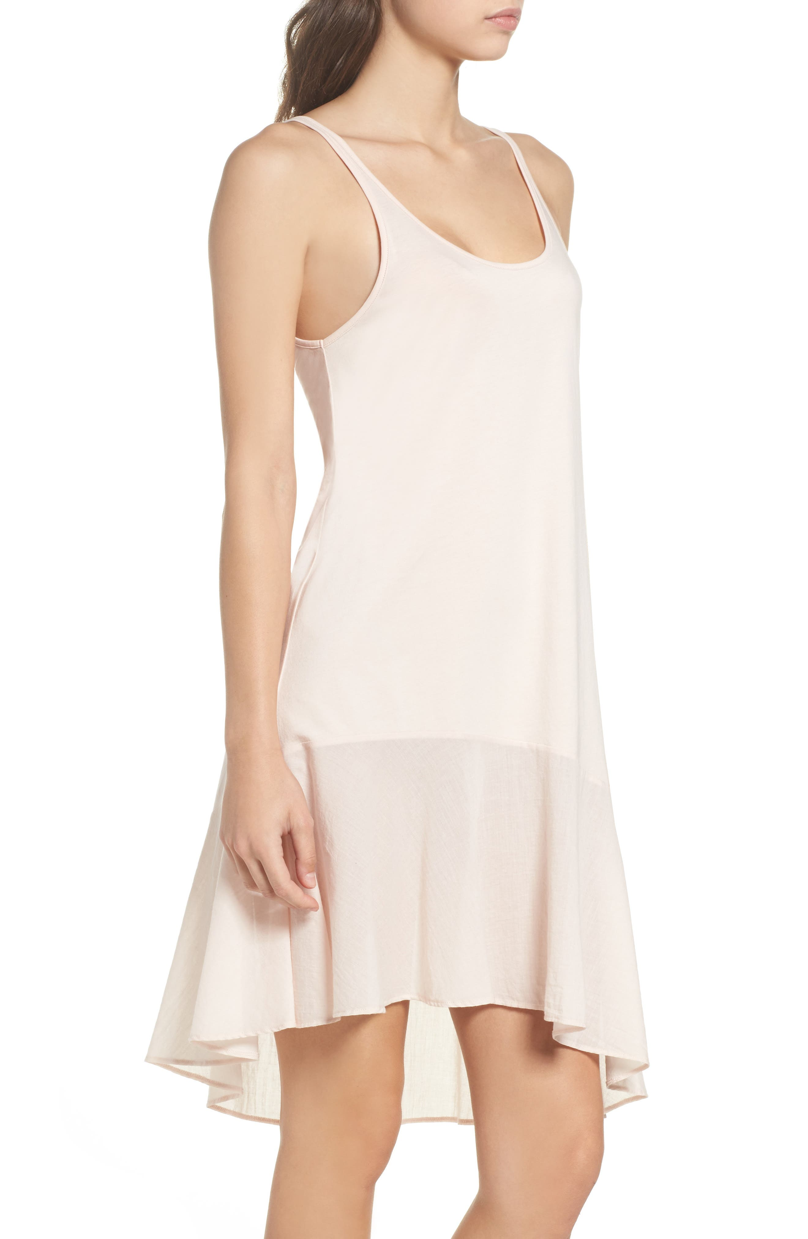 Pima Cotton High/Low Nightgown,                             Alternate thumbnail 3, color,                             Powder Pink