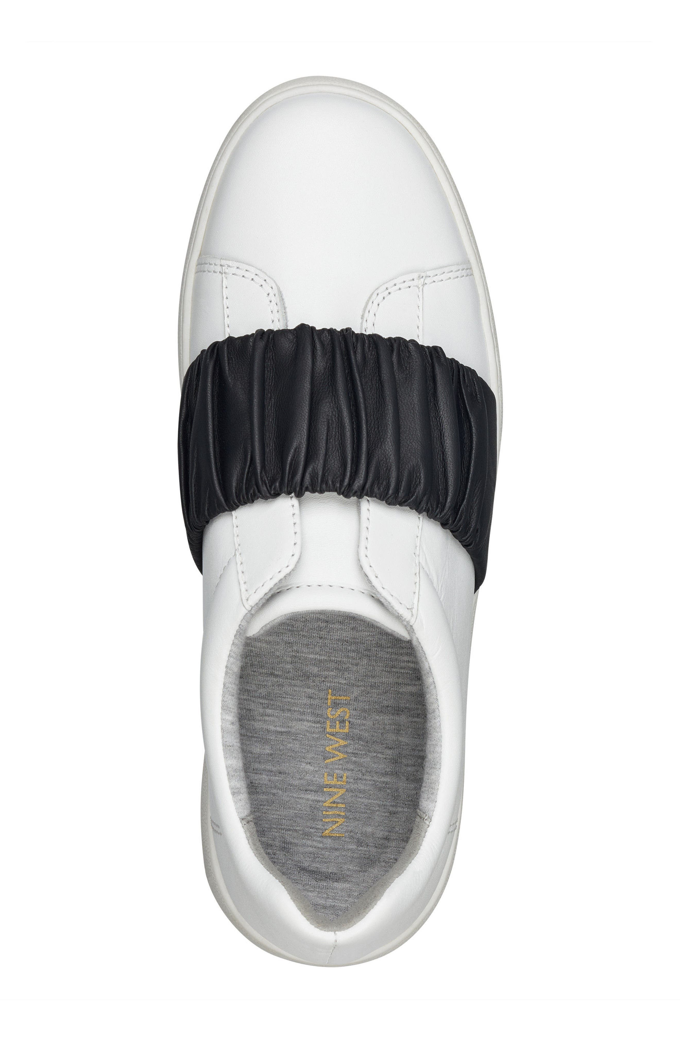 Pindiviah Slip-On Sneaker,                             Alternate thumbnail 5, color,                             White/ Black Leather