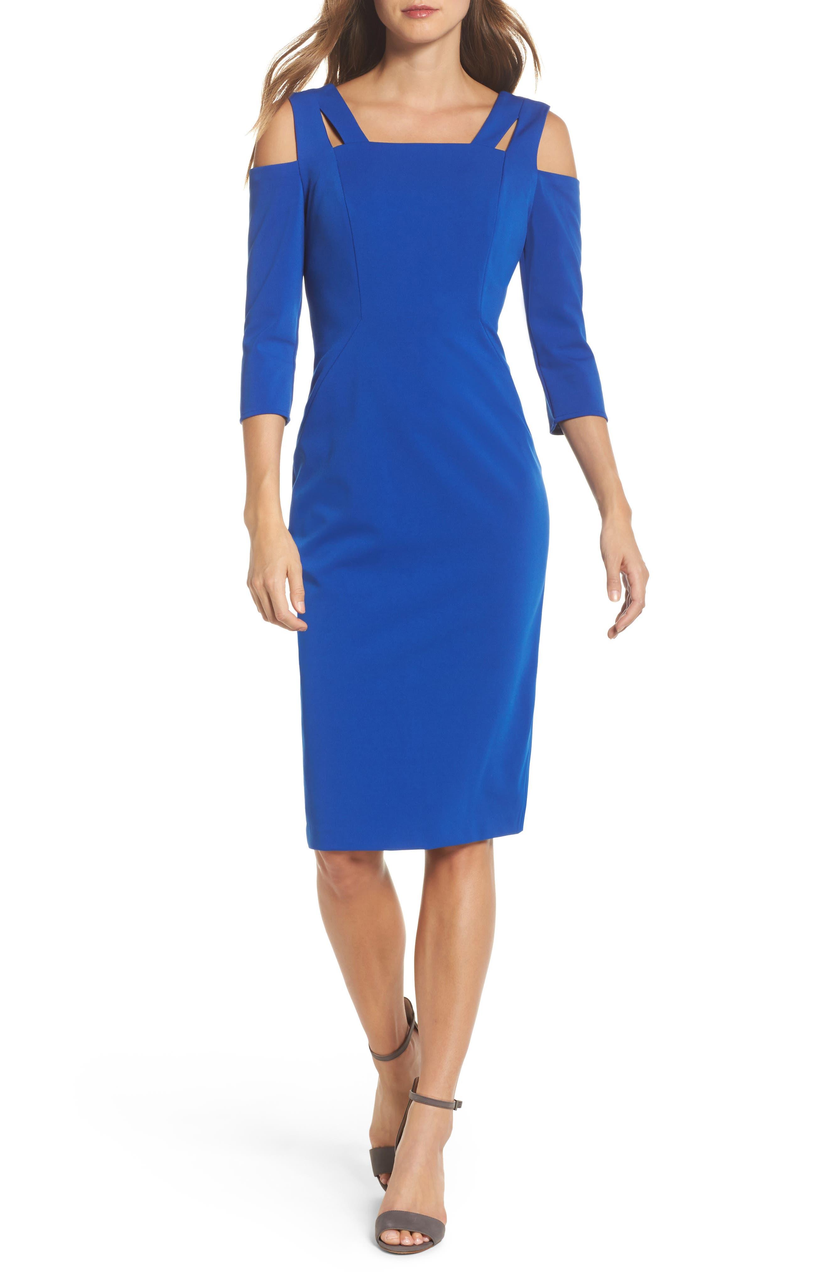 Cold Shoulder Sheath Dress,                         Main,                         color, Cobalt