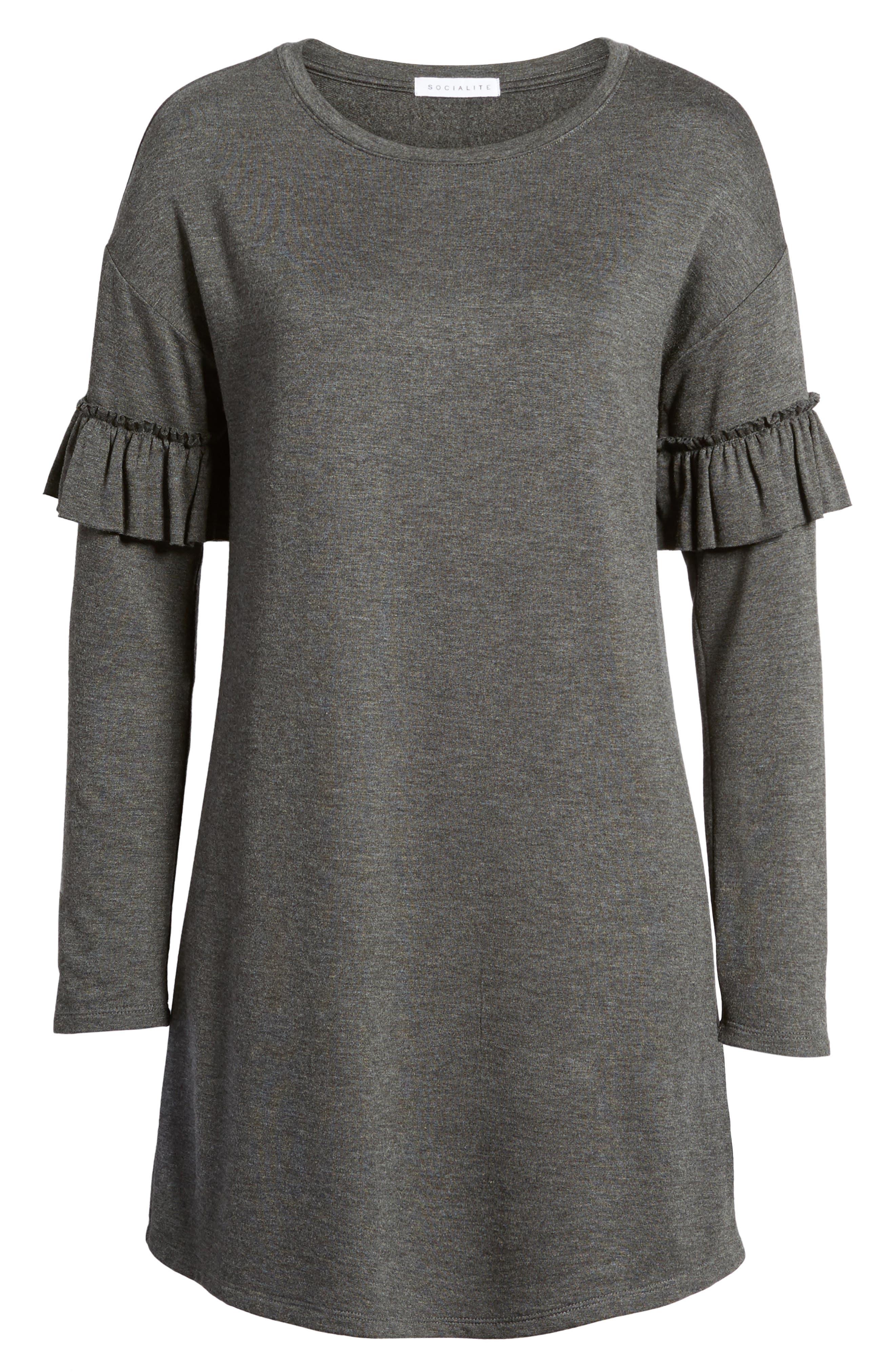 Ruffle Sleeve Sweater Dress,                             Alternate thumbnail 6, color,                             Charcoal
