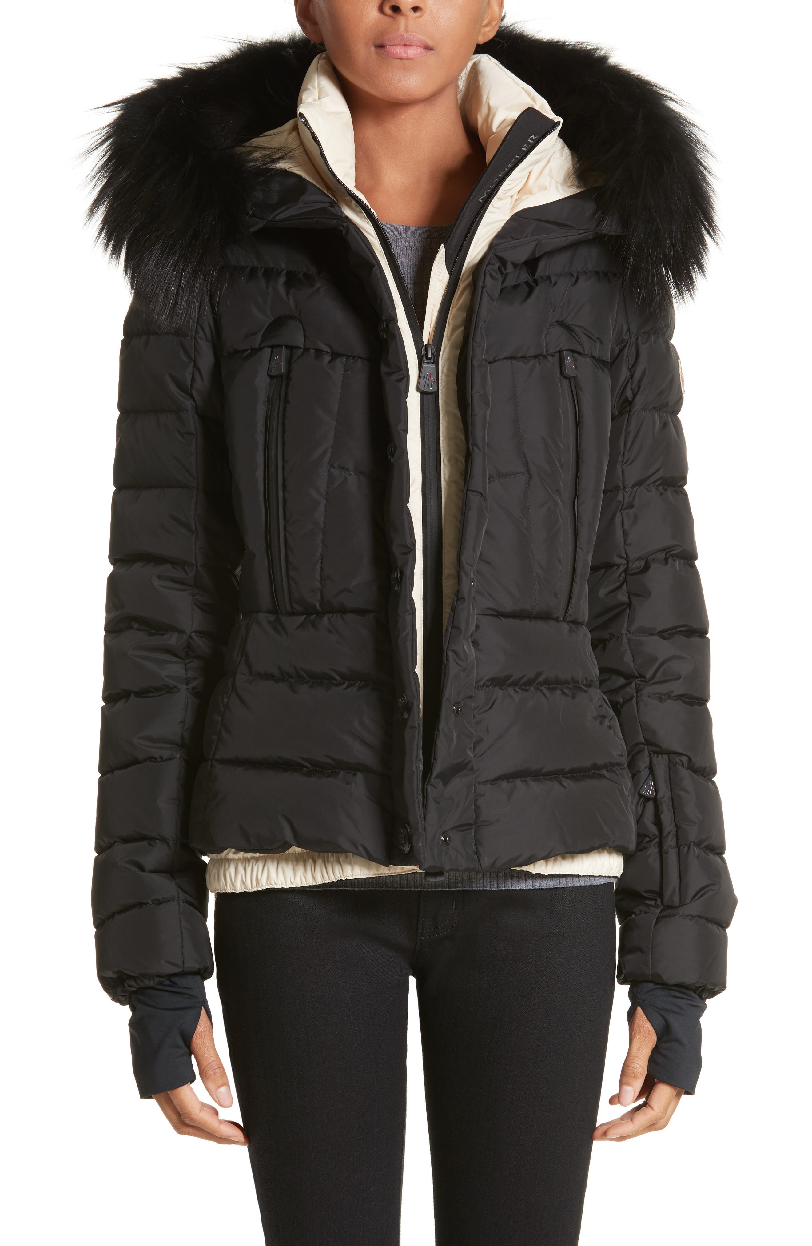 Beverley Quilted Down Jacket with Removable Genuine Fox Fur Trim,                         Main,                         color, Black
