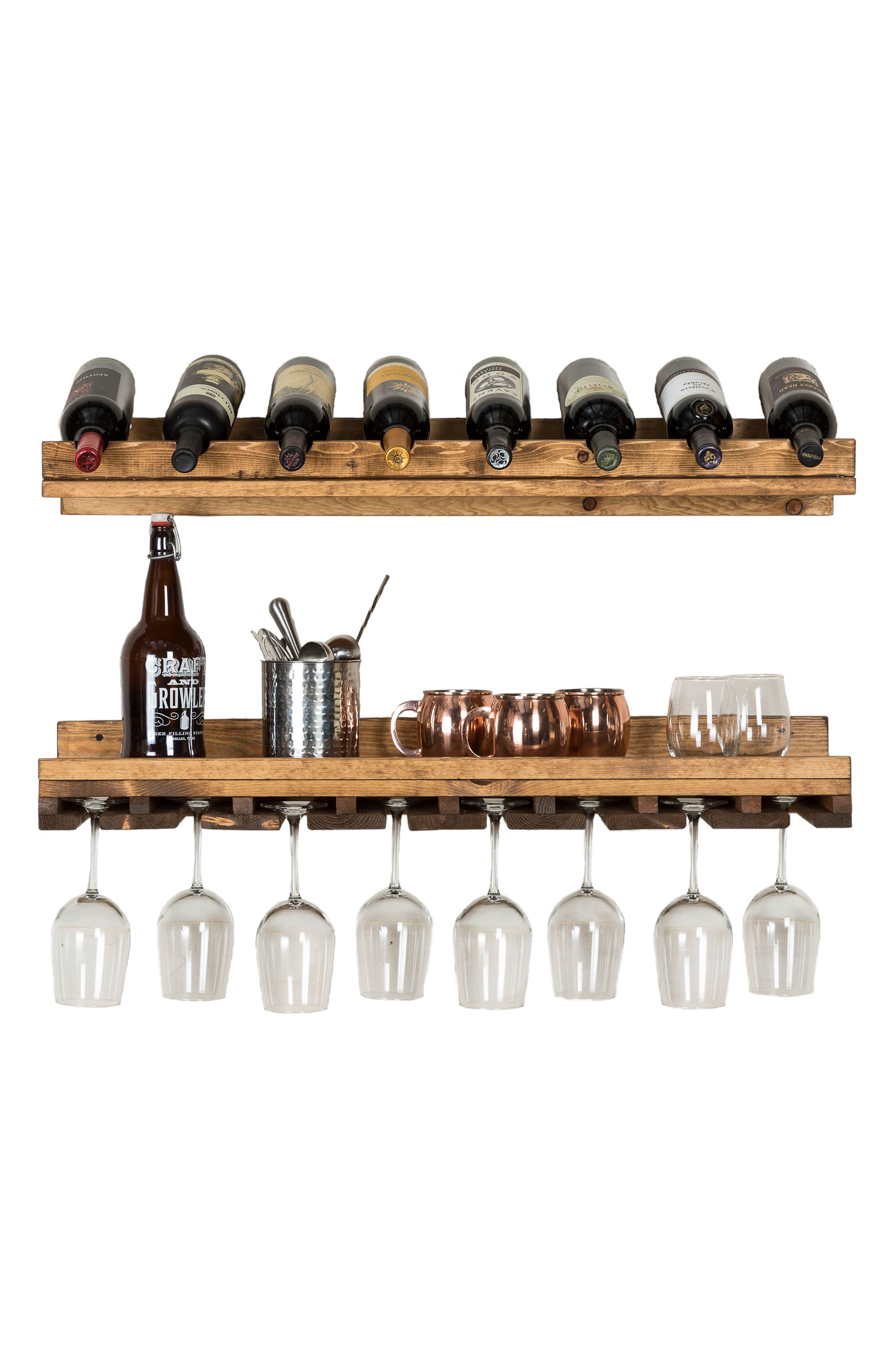 Set of 2 Pine Wood Wine Racks,                             Alternate thumbnail 4, color,                             Dark Walnut