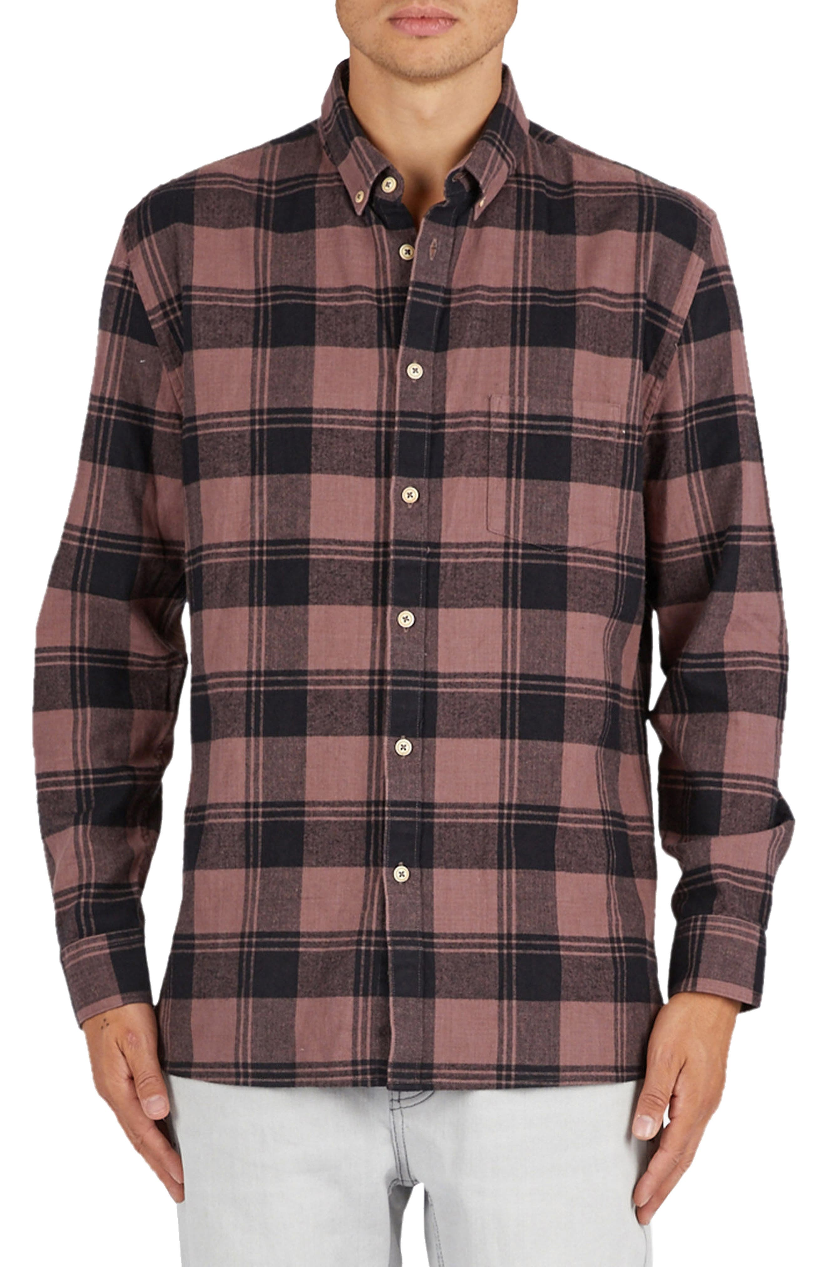 Barney Cools Cabin Plaid Flannel Sport Shirt