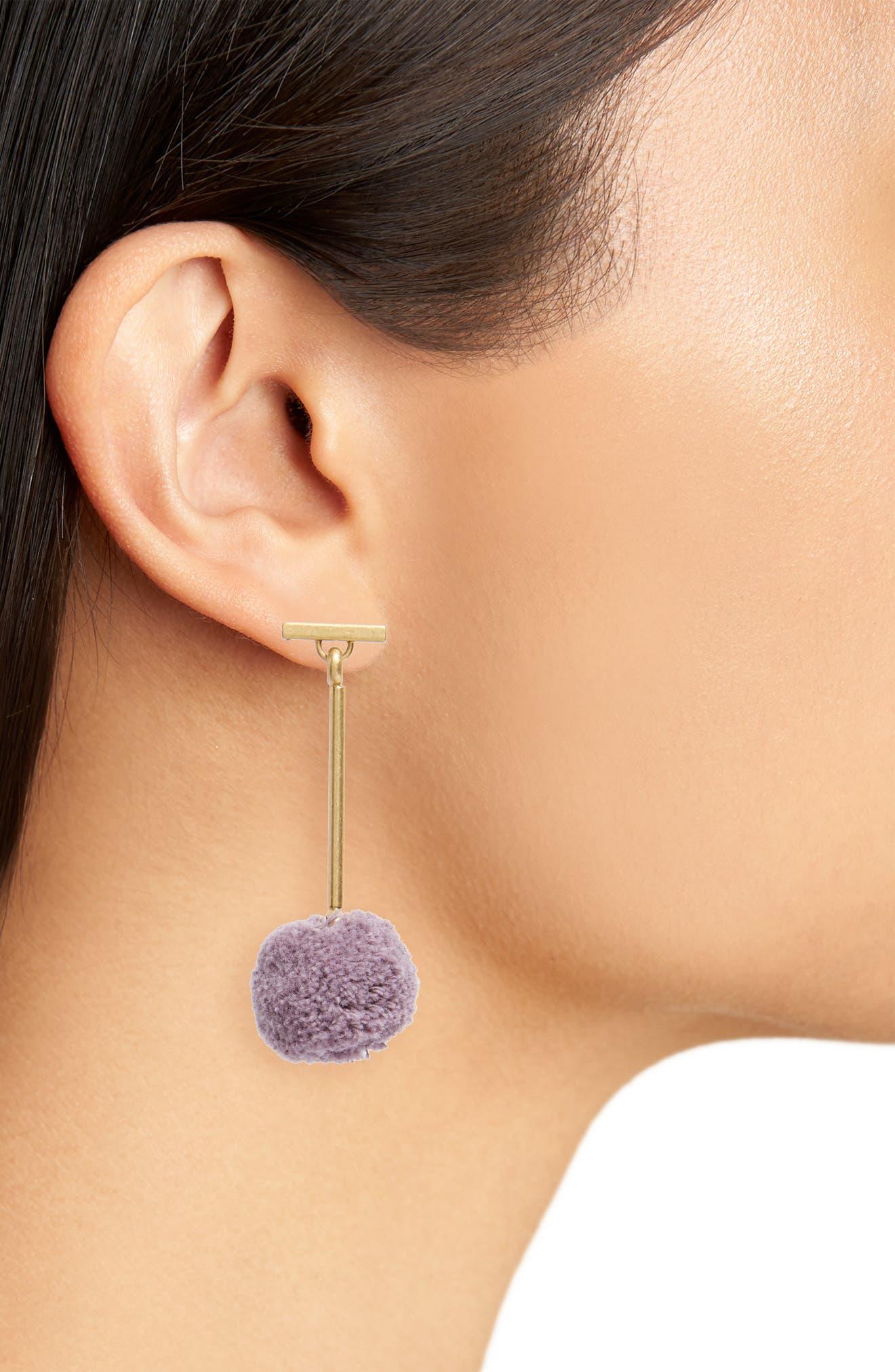Pompom Drop Earrings,                             Alternate thumbnail 2, color,                             Violet Dusk
