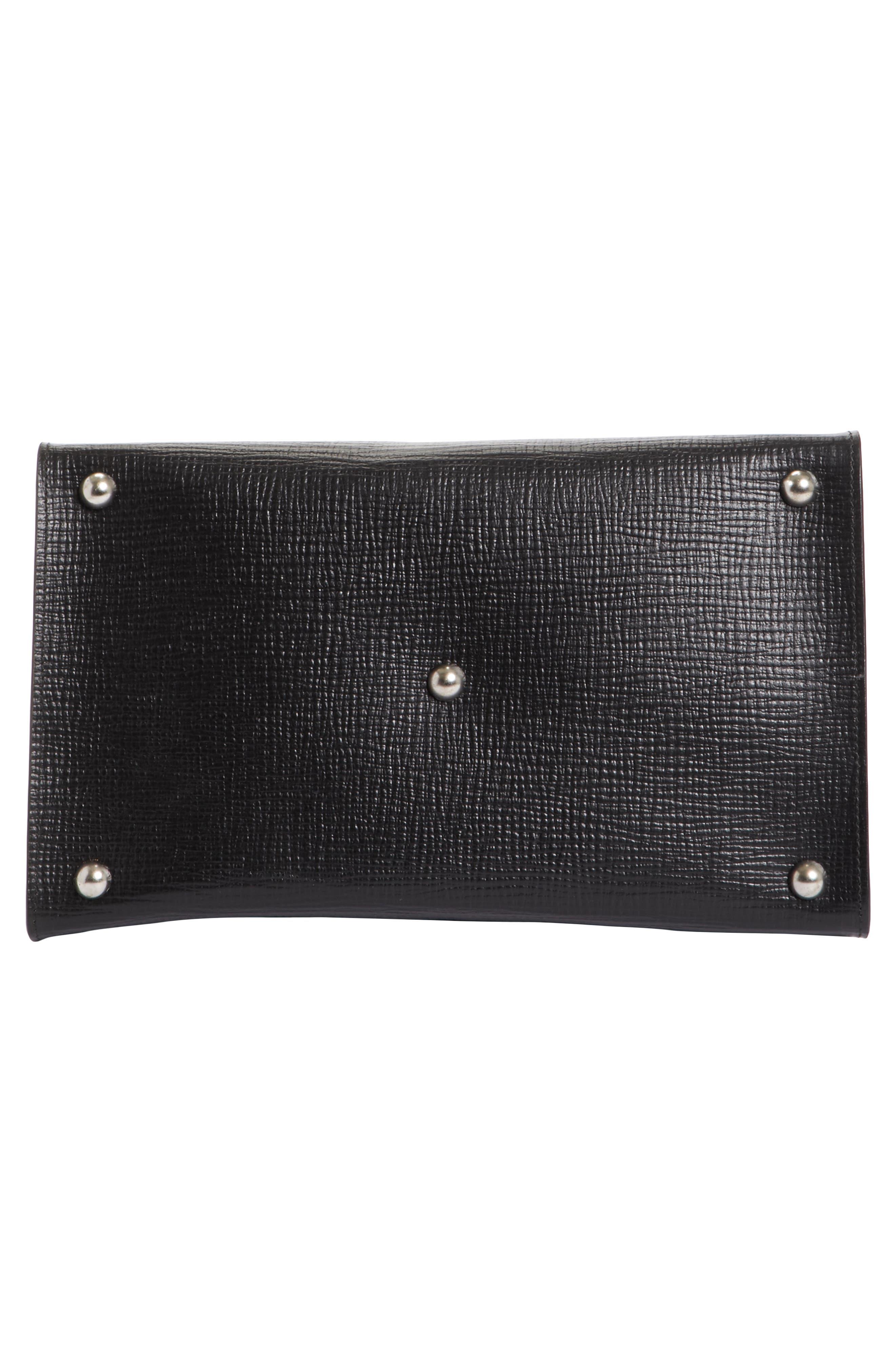 Bonded Leather Satchel,                             Alternate thumbnail 6, color,                             Black