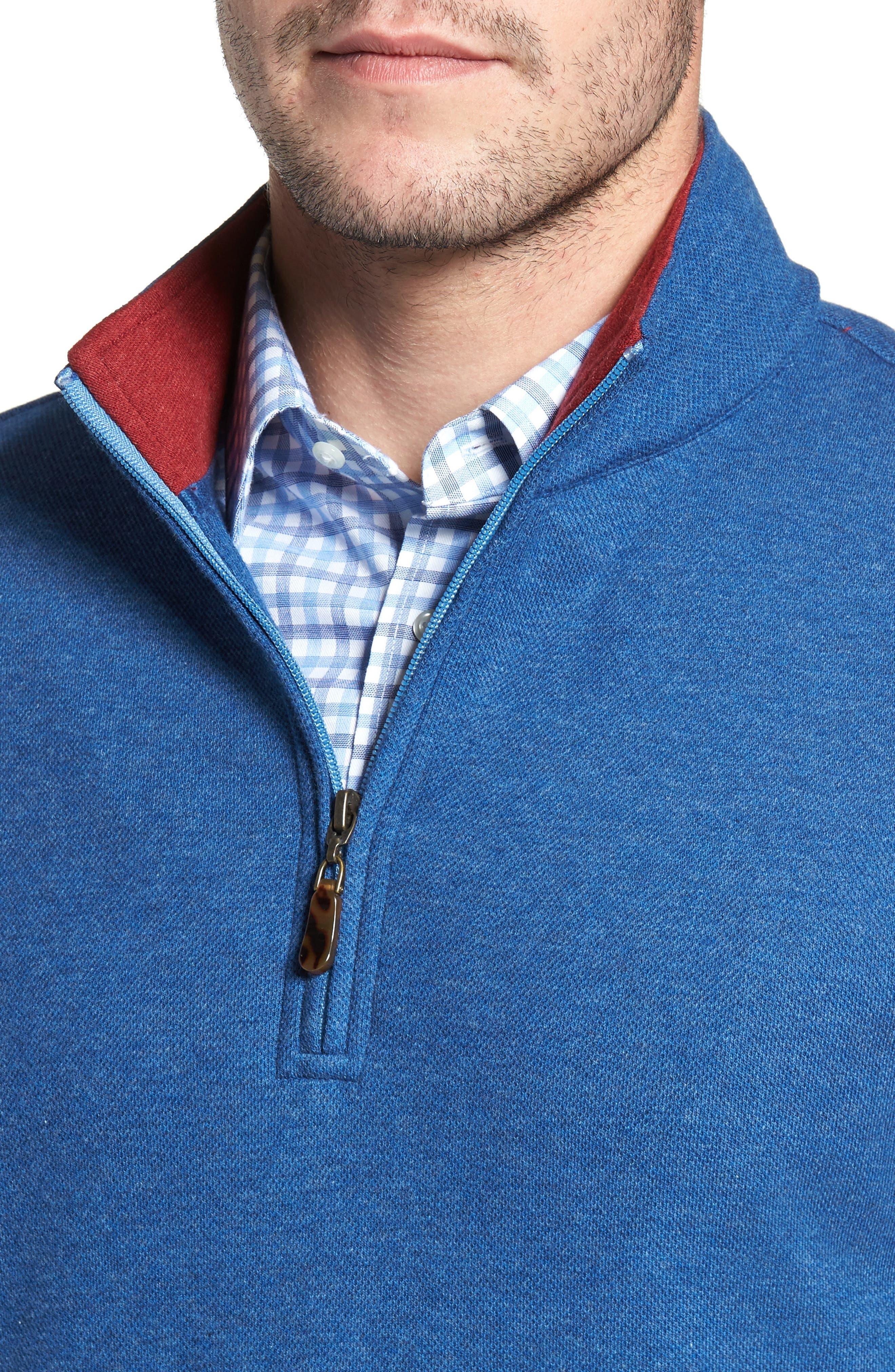 Mélange Quarter Zip Pullover,                             Alternate thumbnail 4, color,                             Blue