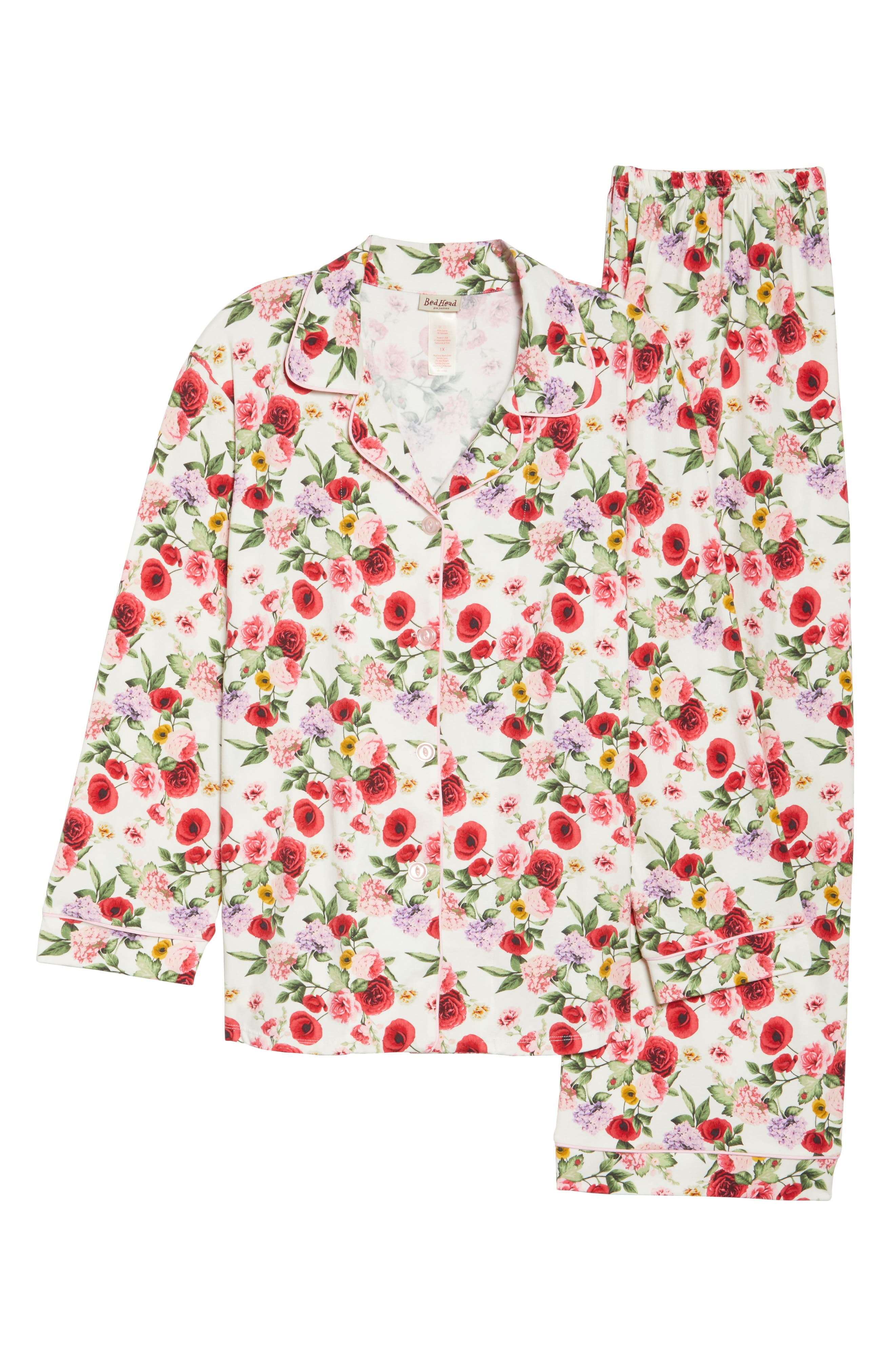 Flower Print Pajamas,                             Alternate thumbnail 4, color,                             Late Bloomers