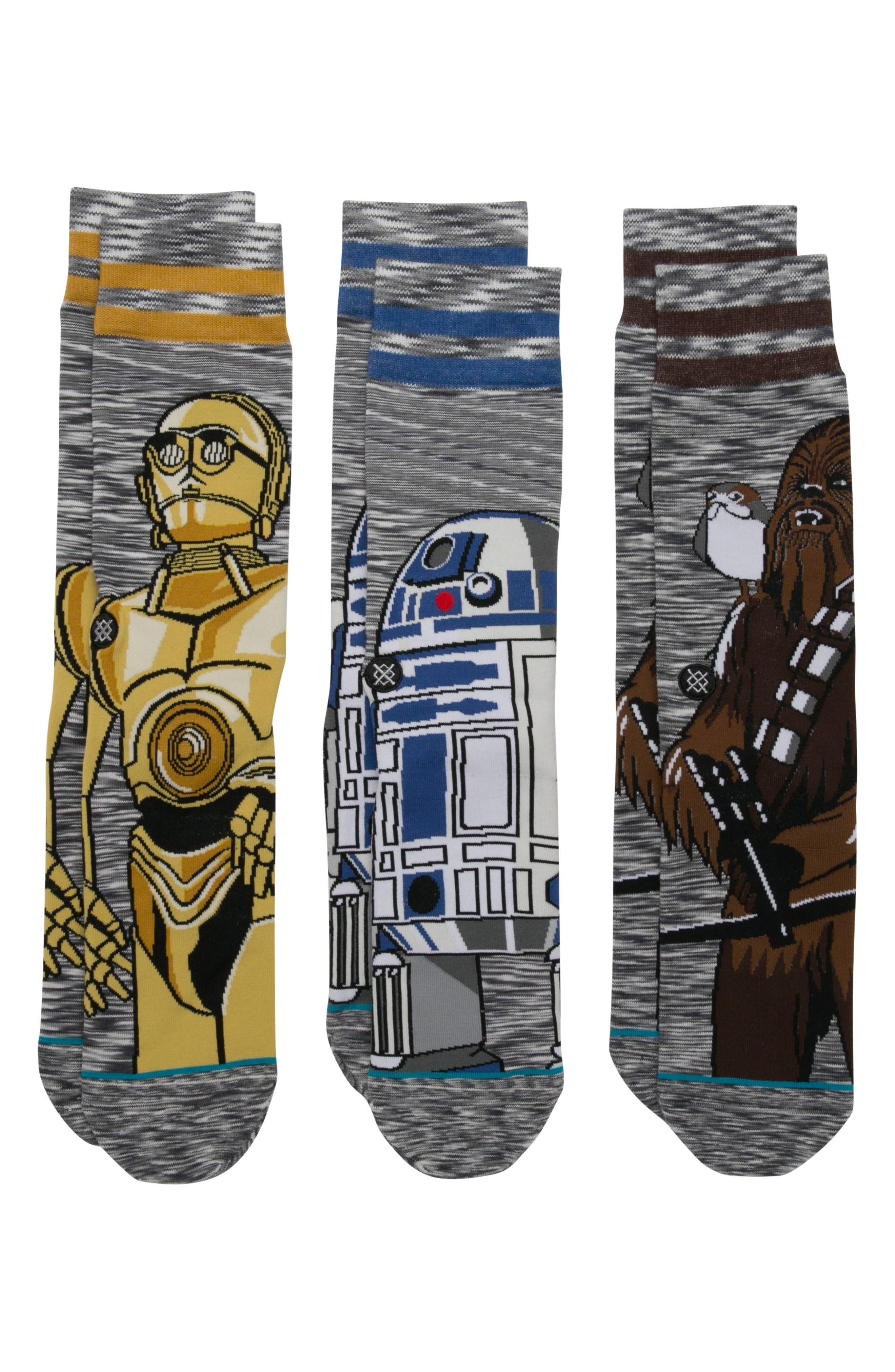 Star Wars<sup>™</sup> - Sidekick 3-Pack Socks,                             Main thumbnail 1, color,                             Grey Multi
