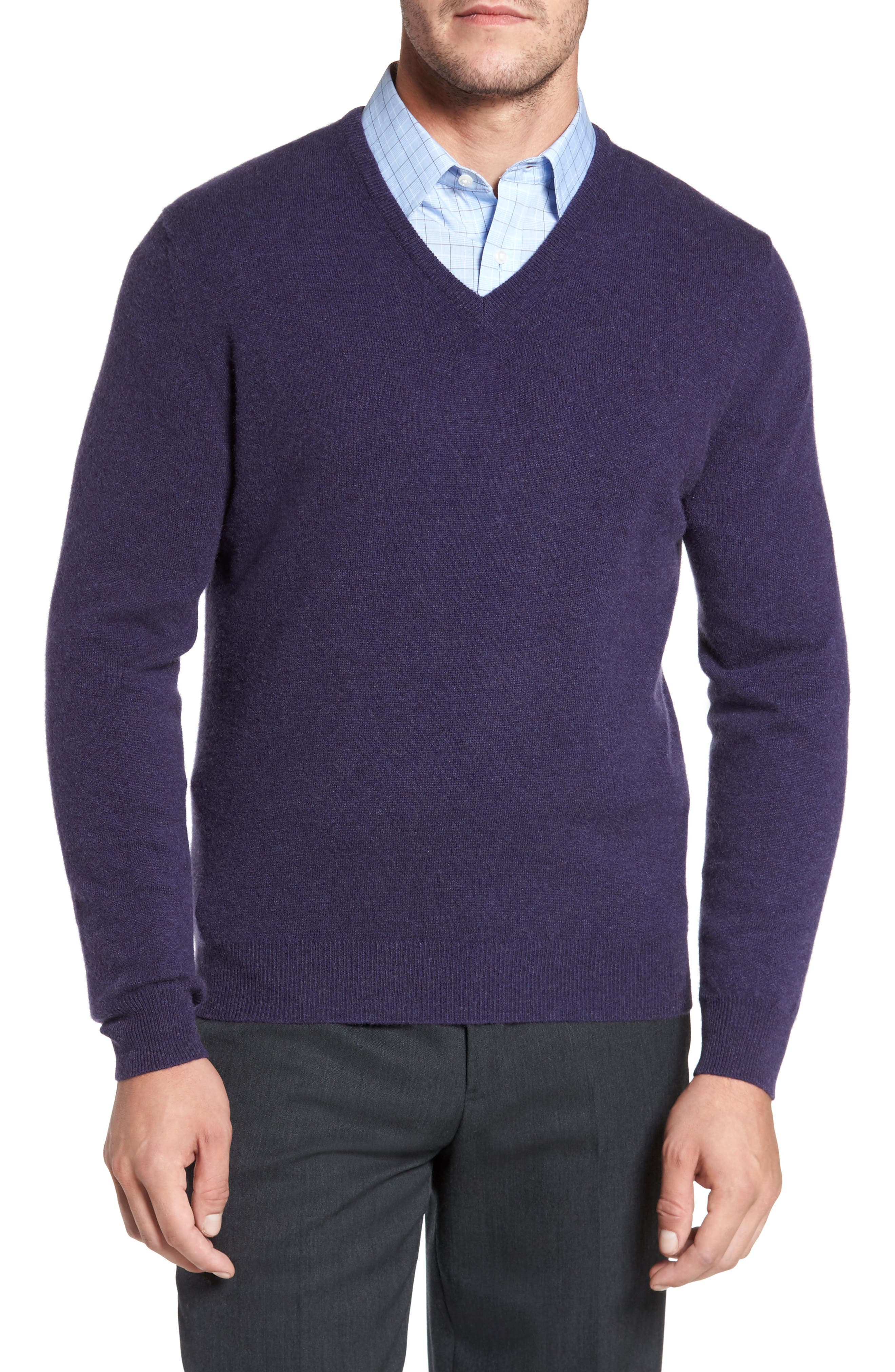 Alternate Image 1 Selected - David Donahue Cashmere V-Neck Sweater