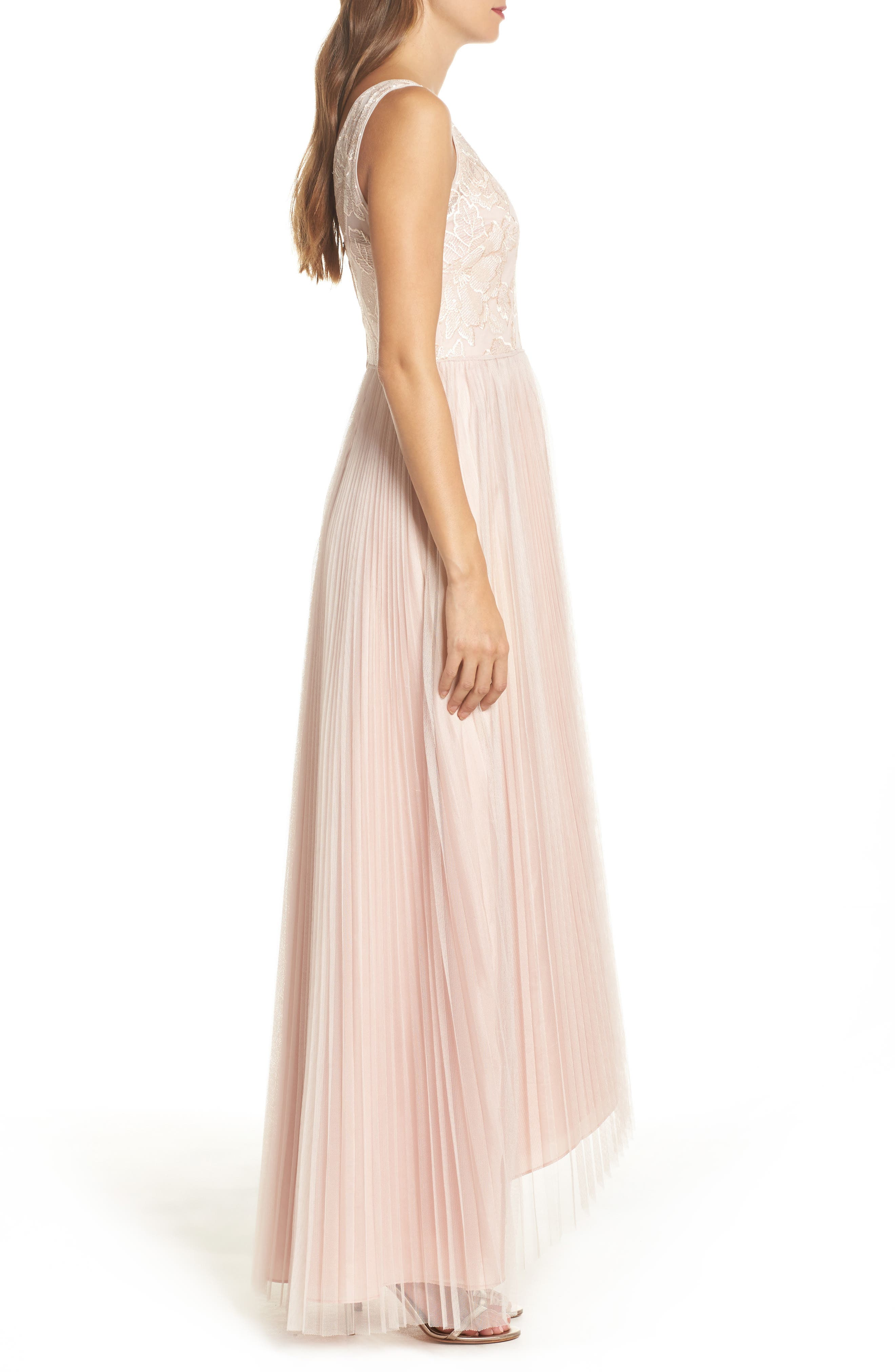 Sequin Pleated Tulle High/Low Gown,                             Alternate thumbnail 3, color,                             Blush