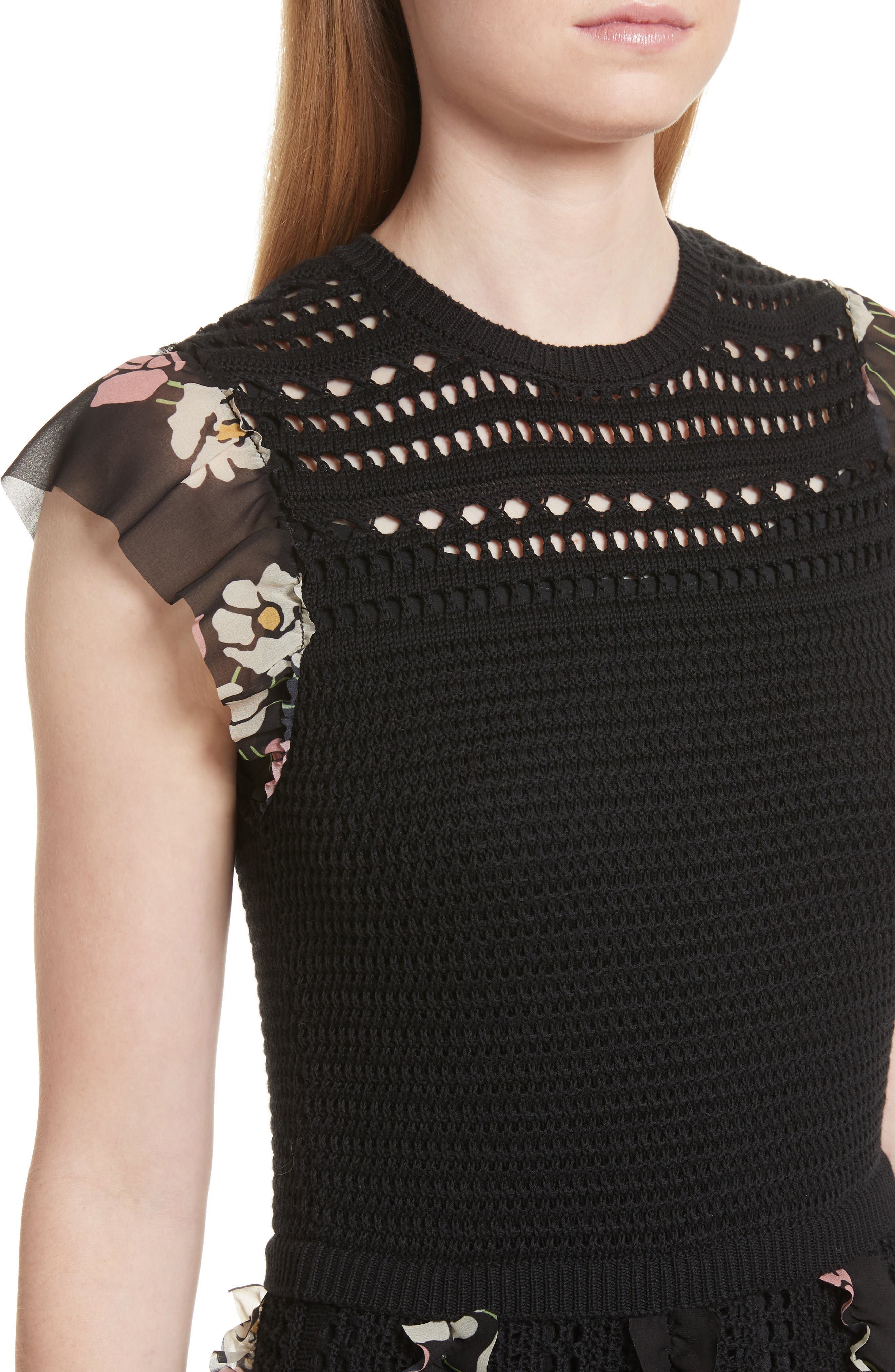 Alternate Image 4  - RED Valentino Ruffle Crochet Dress