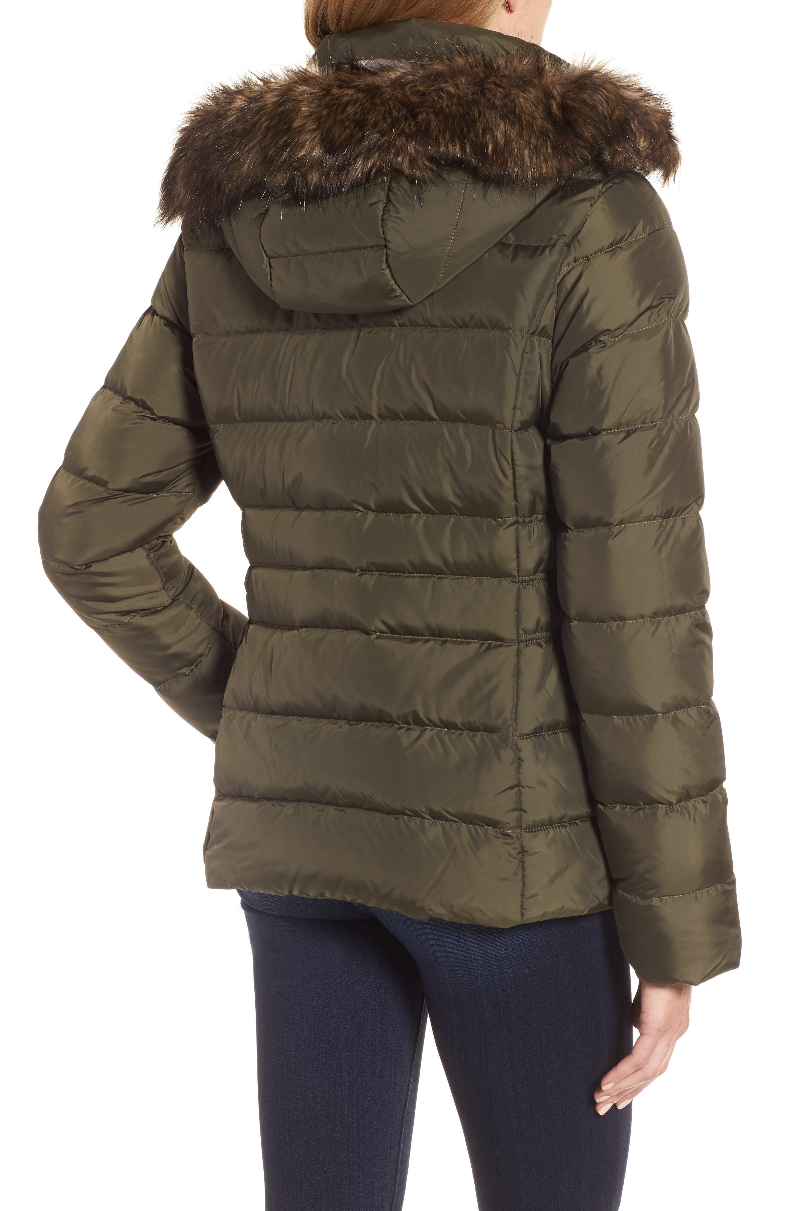 Gotham II Hooded Water Resistant 550-Fill-Power Down Jacket with Faux Fur Trim,                             Alternate thumbnail 2, color,                             New Taupe Green
