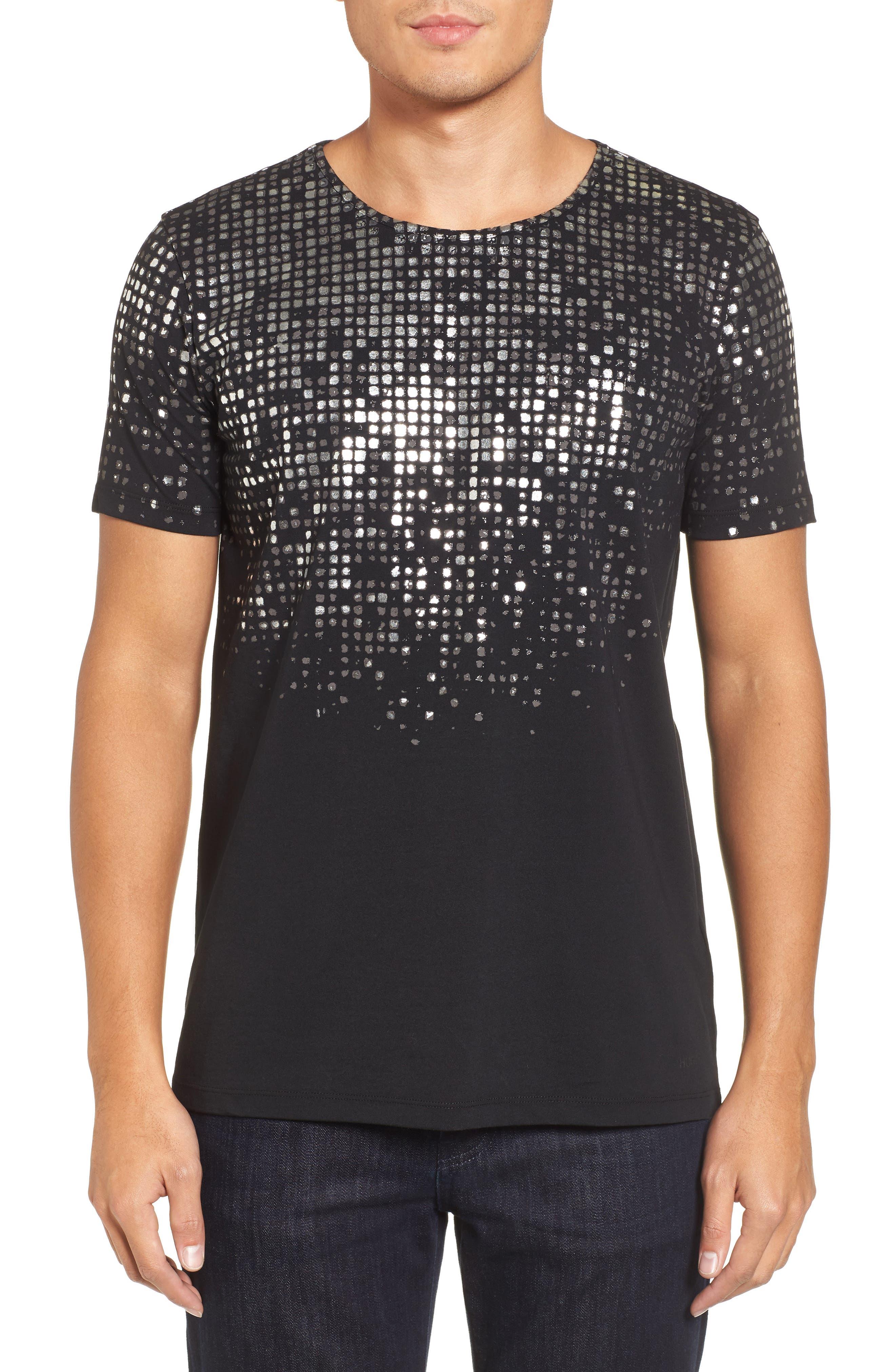 HUGO Silver Detail T-Shirt,                             Main thumbnail 1, color,                             Black