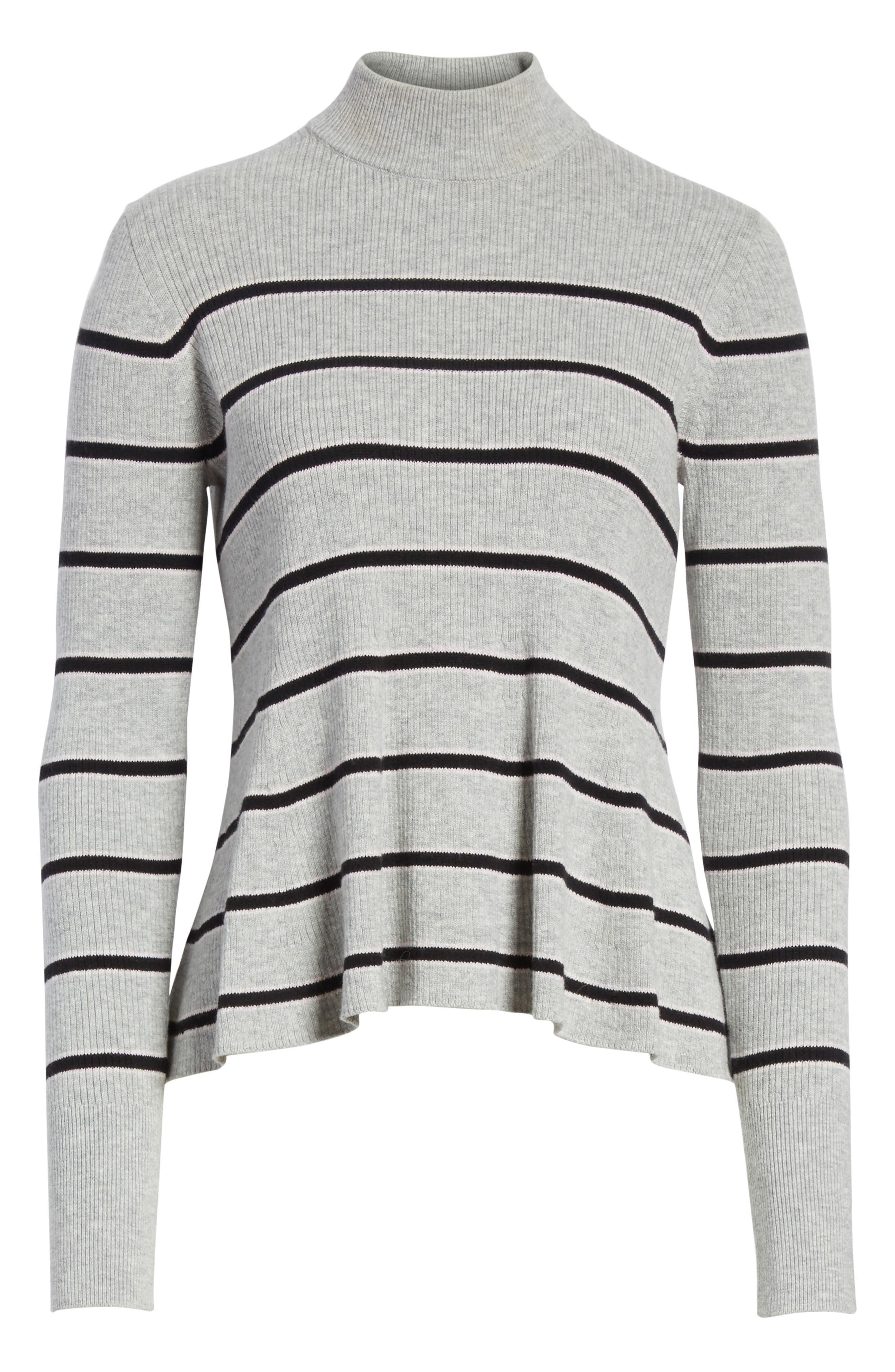 Alternate Image 6  - La Vie Rebecca Taylor Mock Neck Stripe Pullover