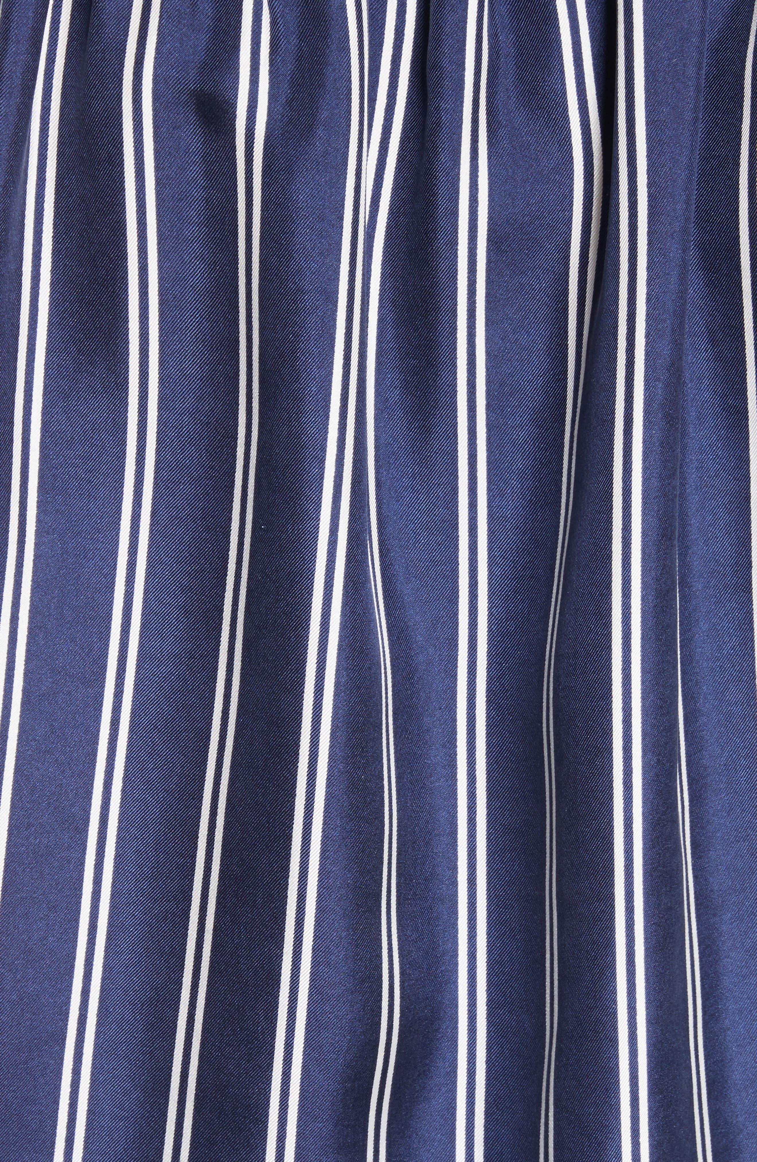 Adiba Stripe Silk Shirt,                             Alternate thumbnail 5, color,                             Dark Navy