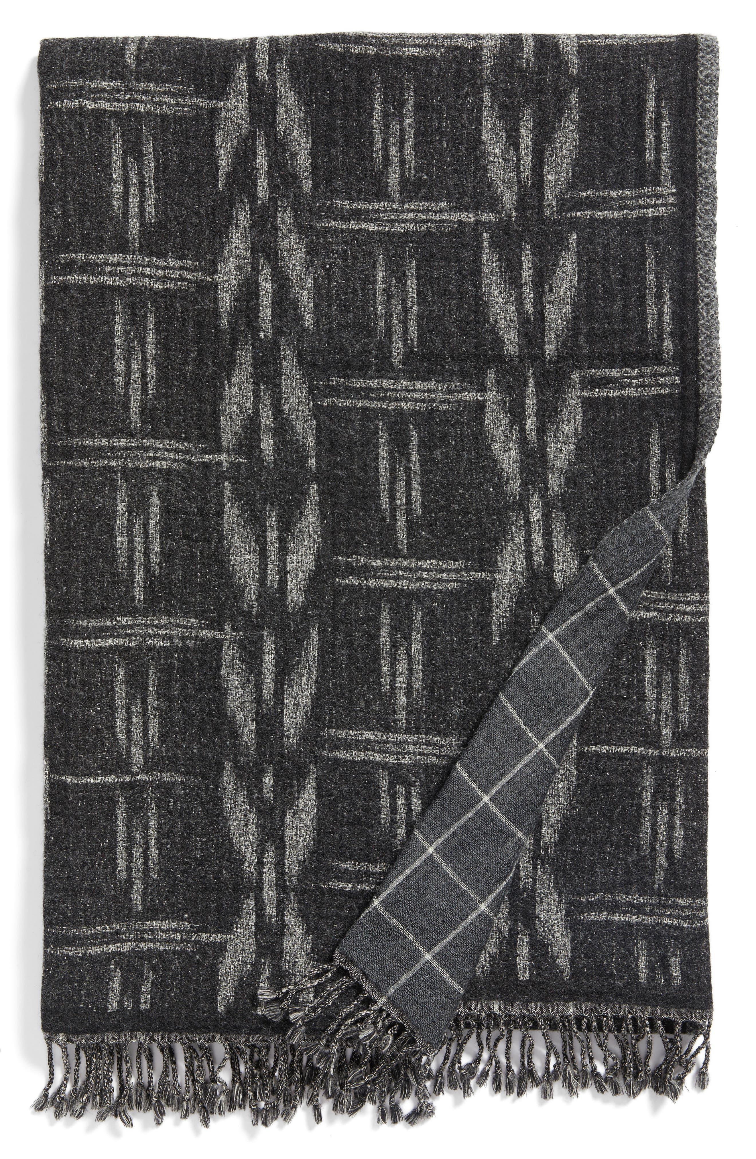 Kasuri Double Face Merino Wool Throw,                             Main thumbnail 1, color,                             Kasuri
