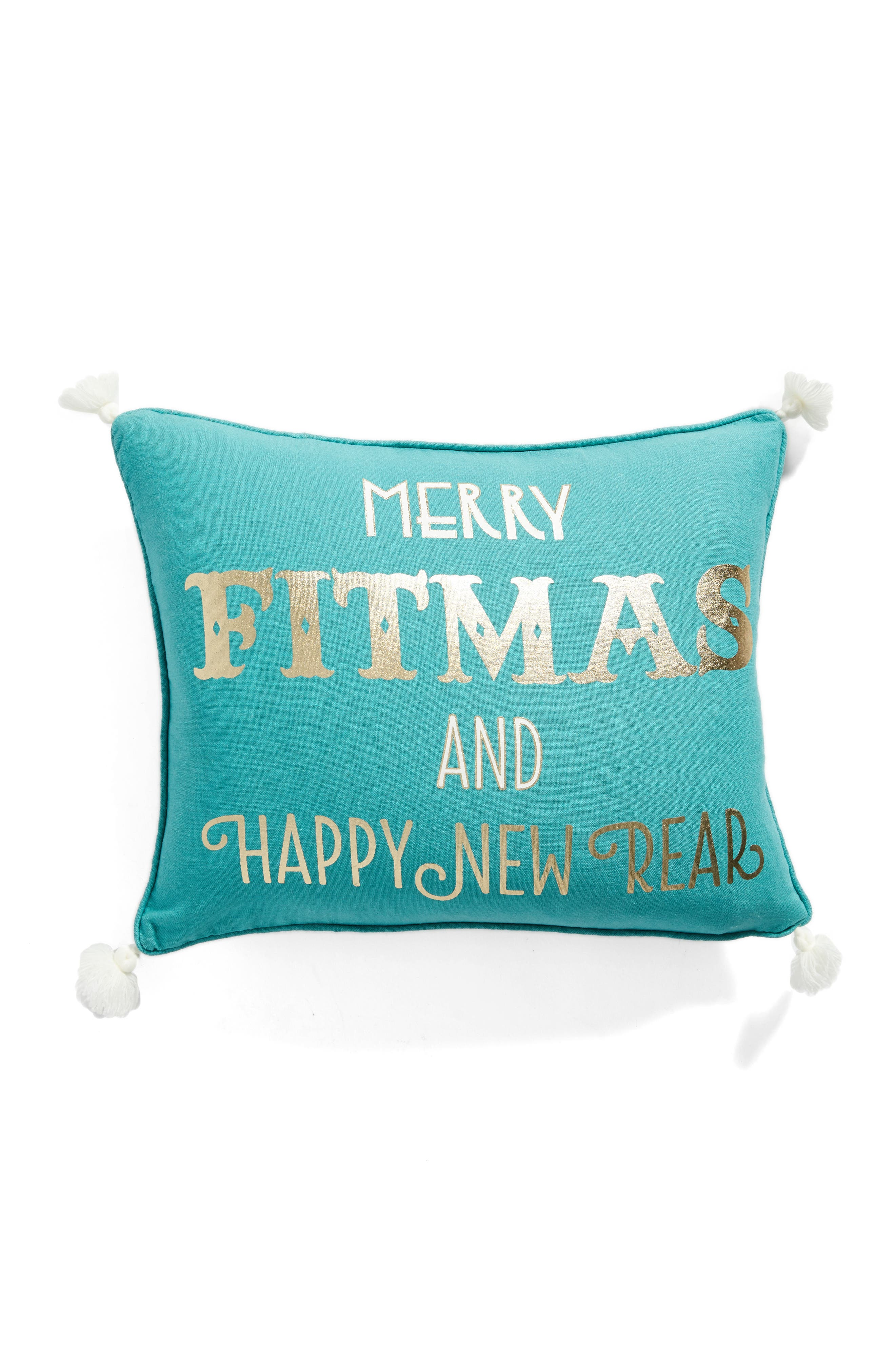 Merry Fitmas Pillow,                         Main,                         color, Blue