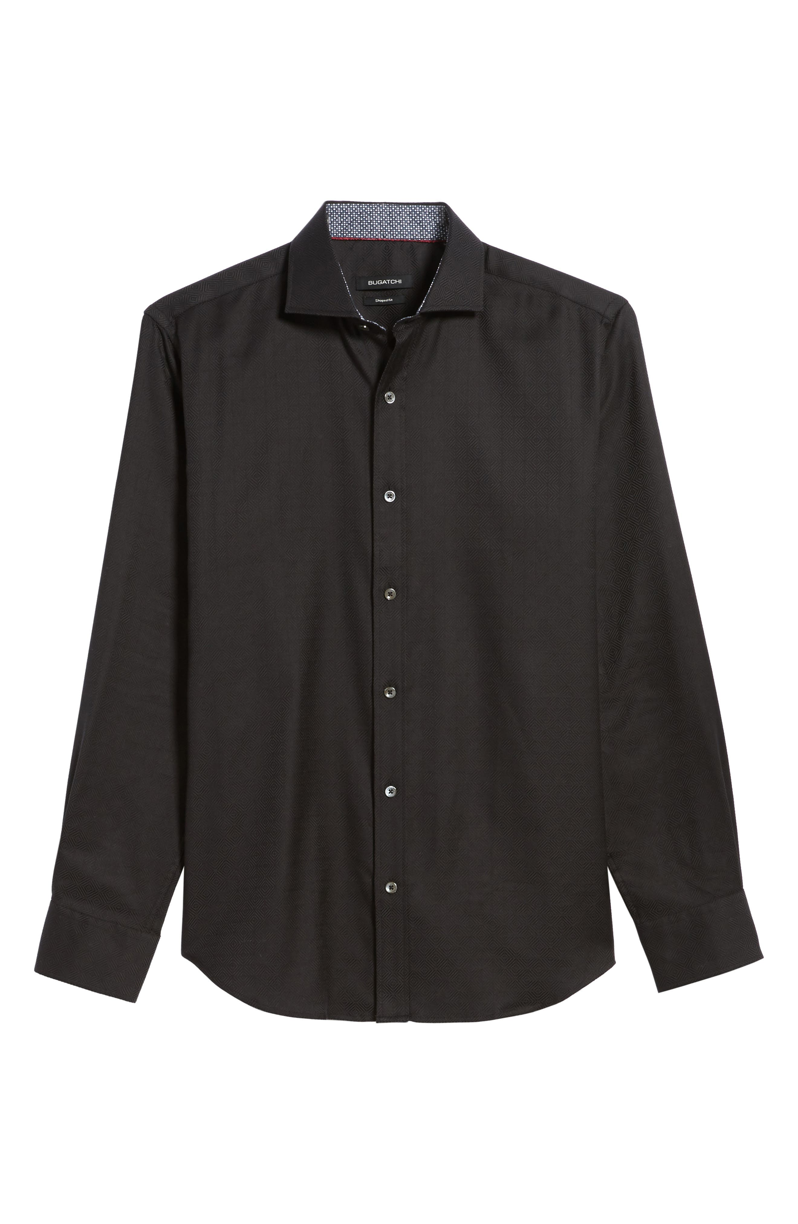 Classic Fit Check Jacquard Sport Shirt,                             Alternate thumbnail 6, color,                             Black